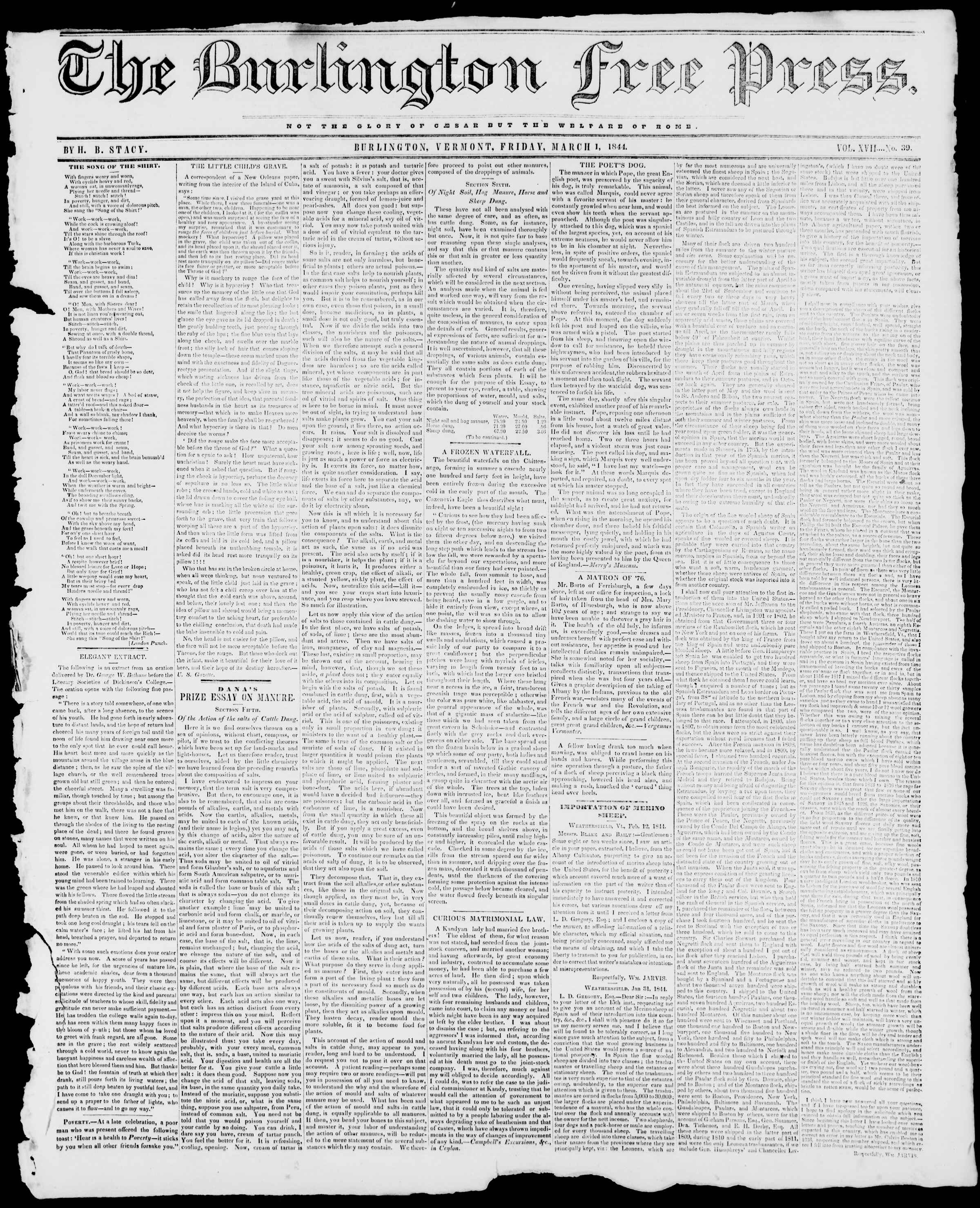 Newspaper of Burlington Free Press dated March 1, 1844 Page 1