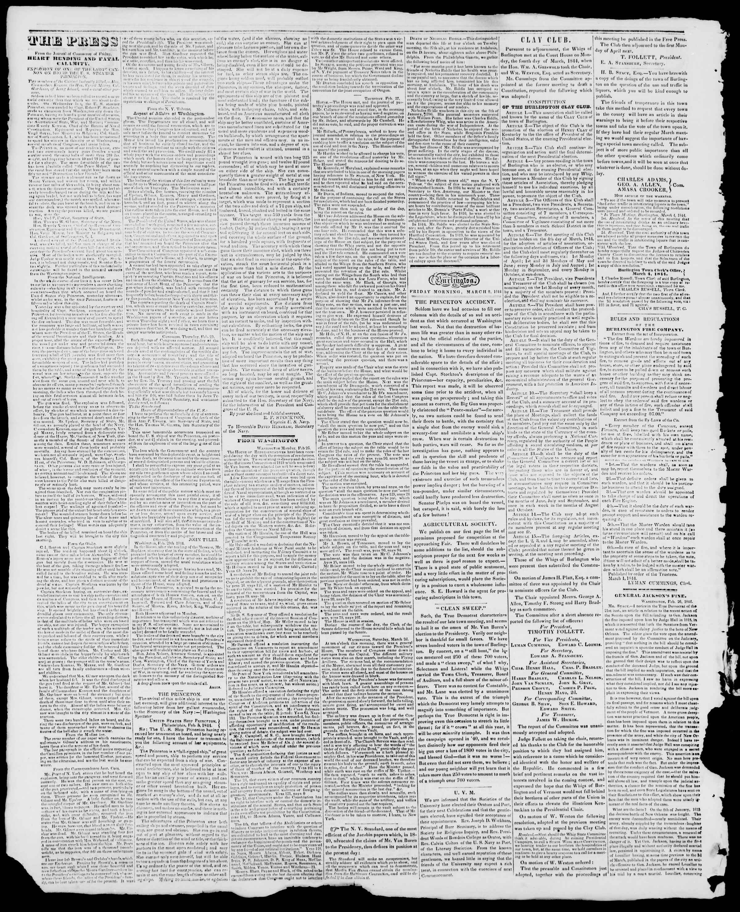 Newspaper of Burlington Free Press dated March 8, 1844 Page 2