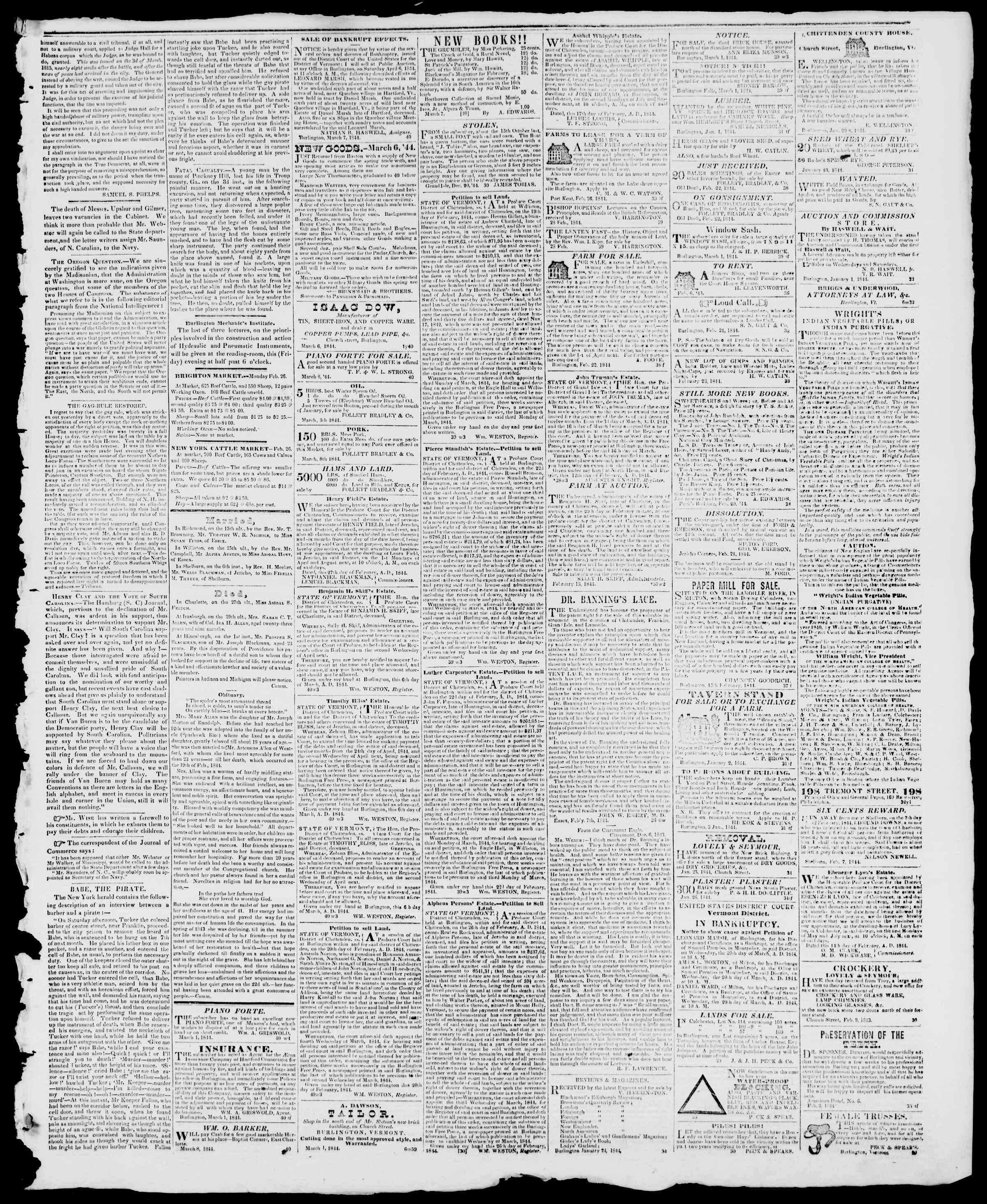 Newspaper of Burlington Free Press dated March 8, 1844 Page 3