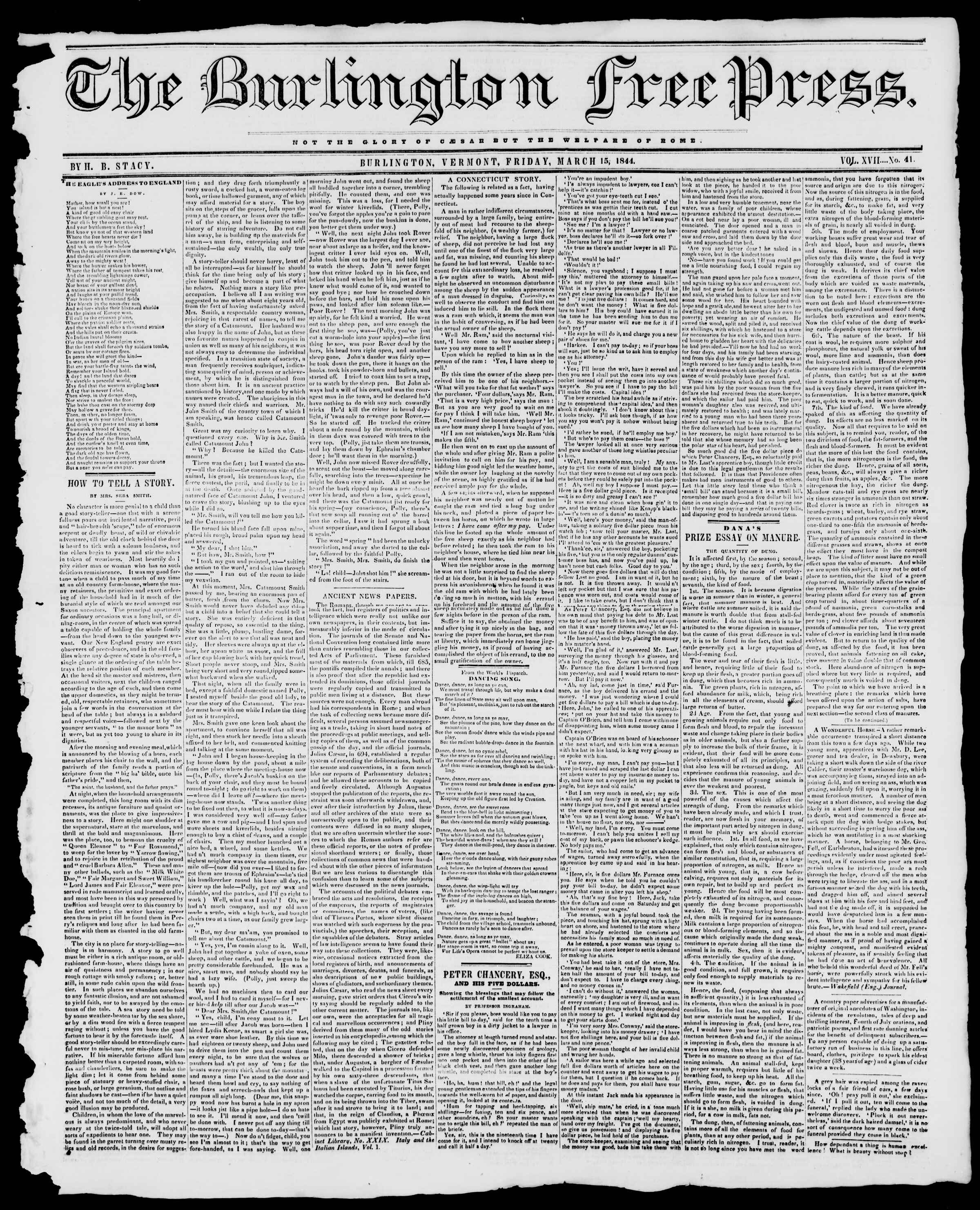 Newspaper of Burlington Free Press dated March 15, 1844 Page 1