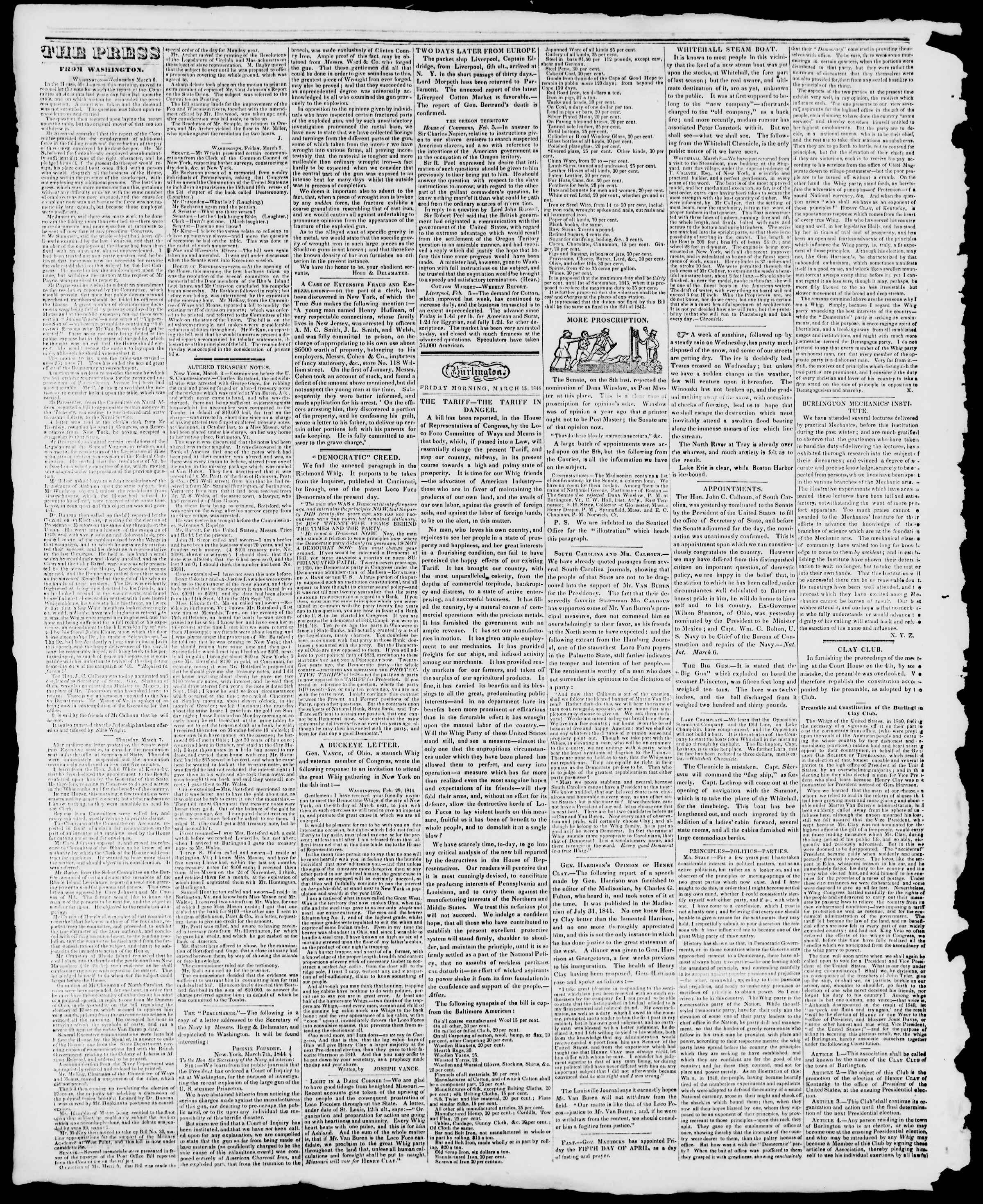 Newspaper of Burlington Free Press dated March 15, 1844 Page 2