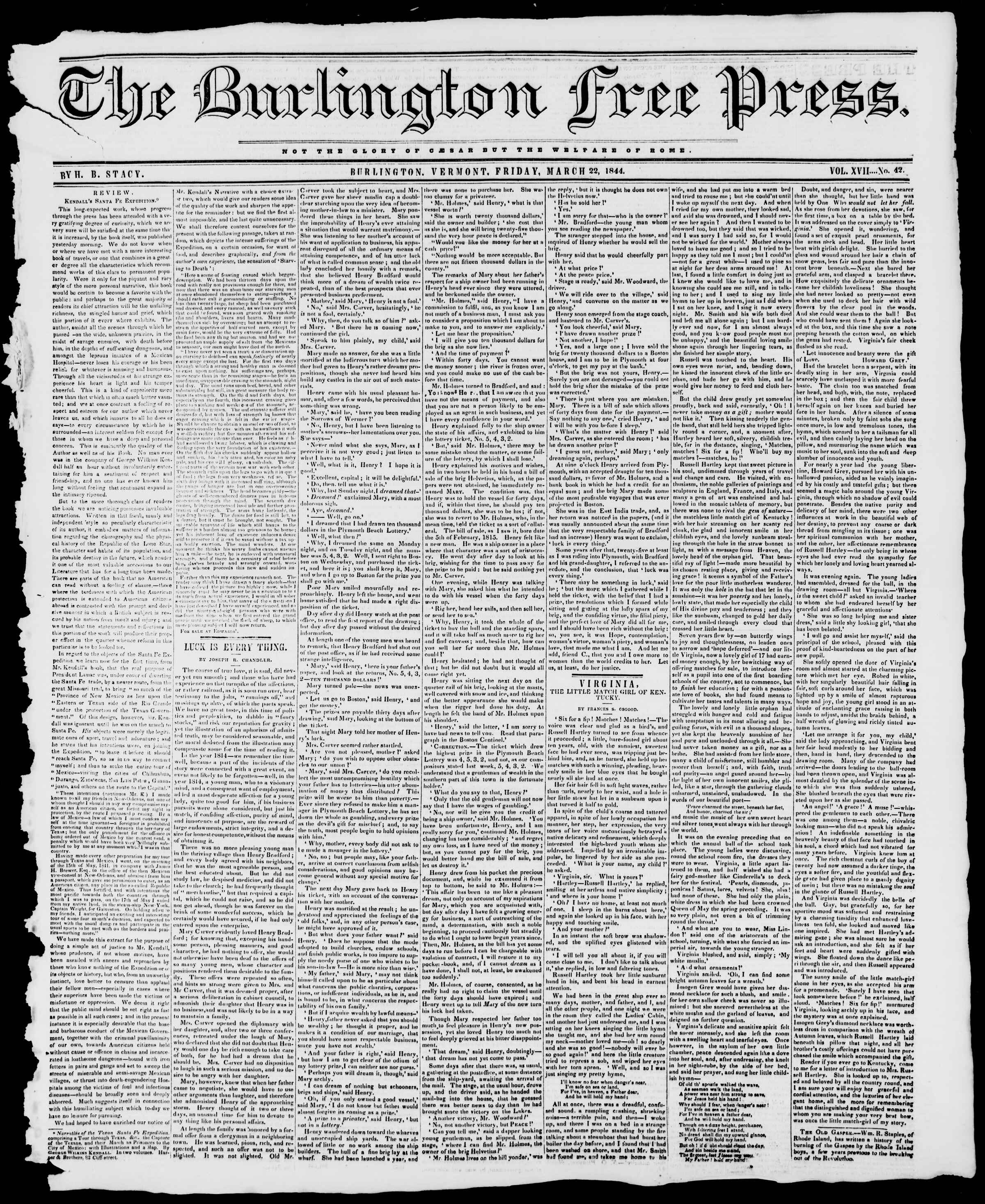 Newspaper of Burlington Free Press dated March 22, 1844 Page 1