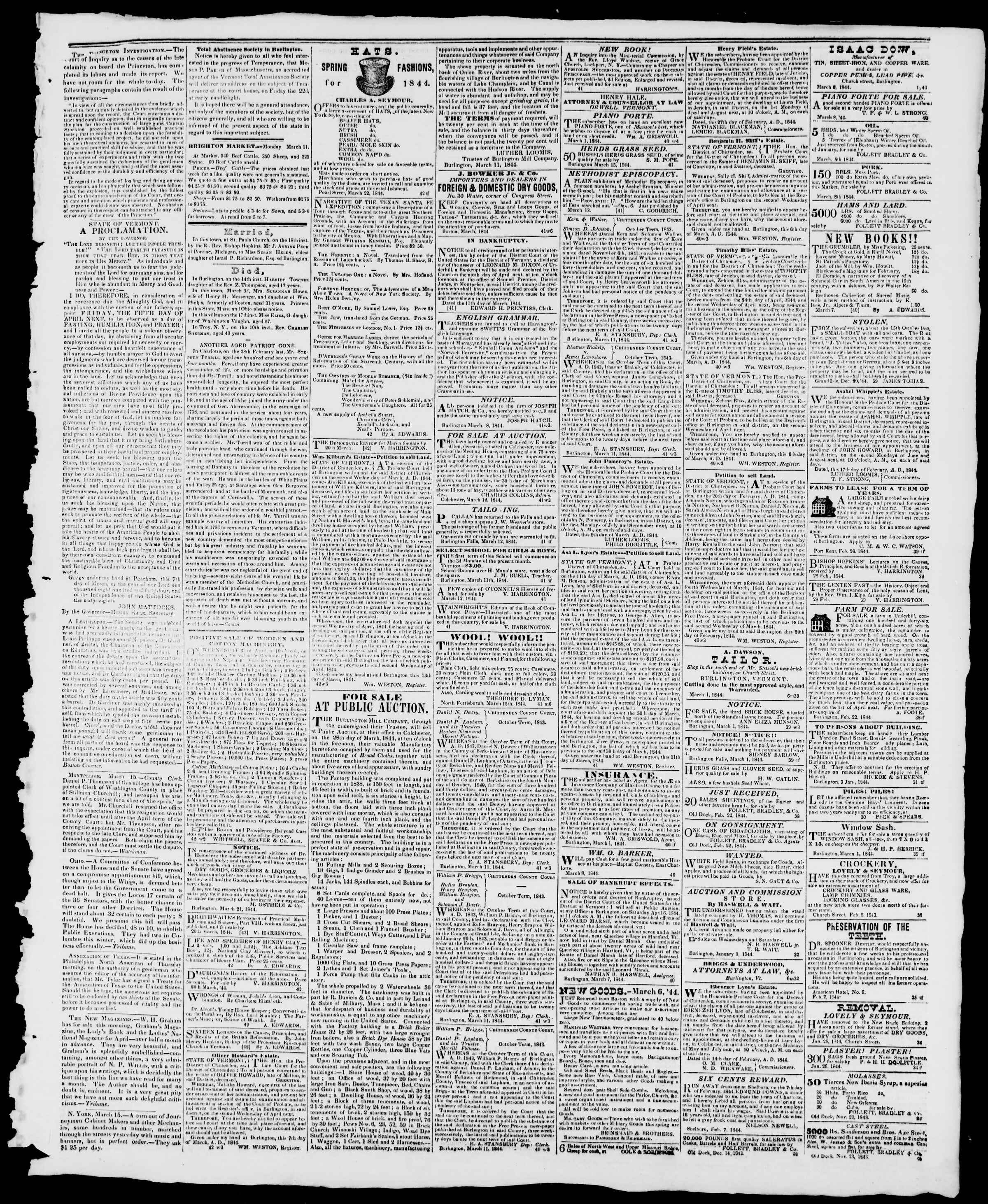 Newspaper of Burlington Free Press dated March 22, 1844 Page 3