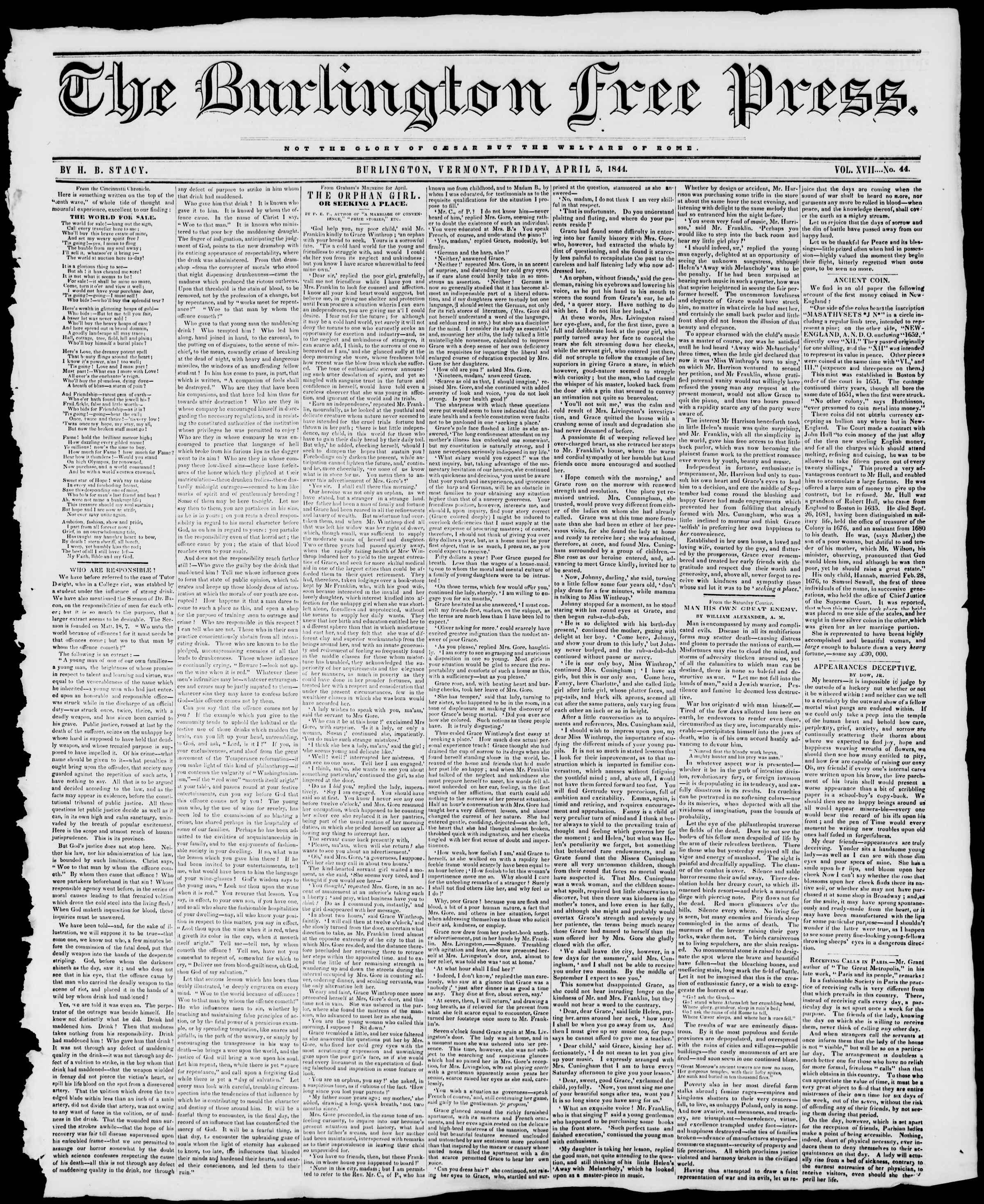 Newspaper of Burlington Free Press dated April 5, 1844 Page 1