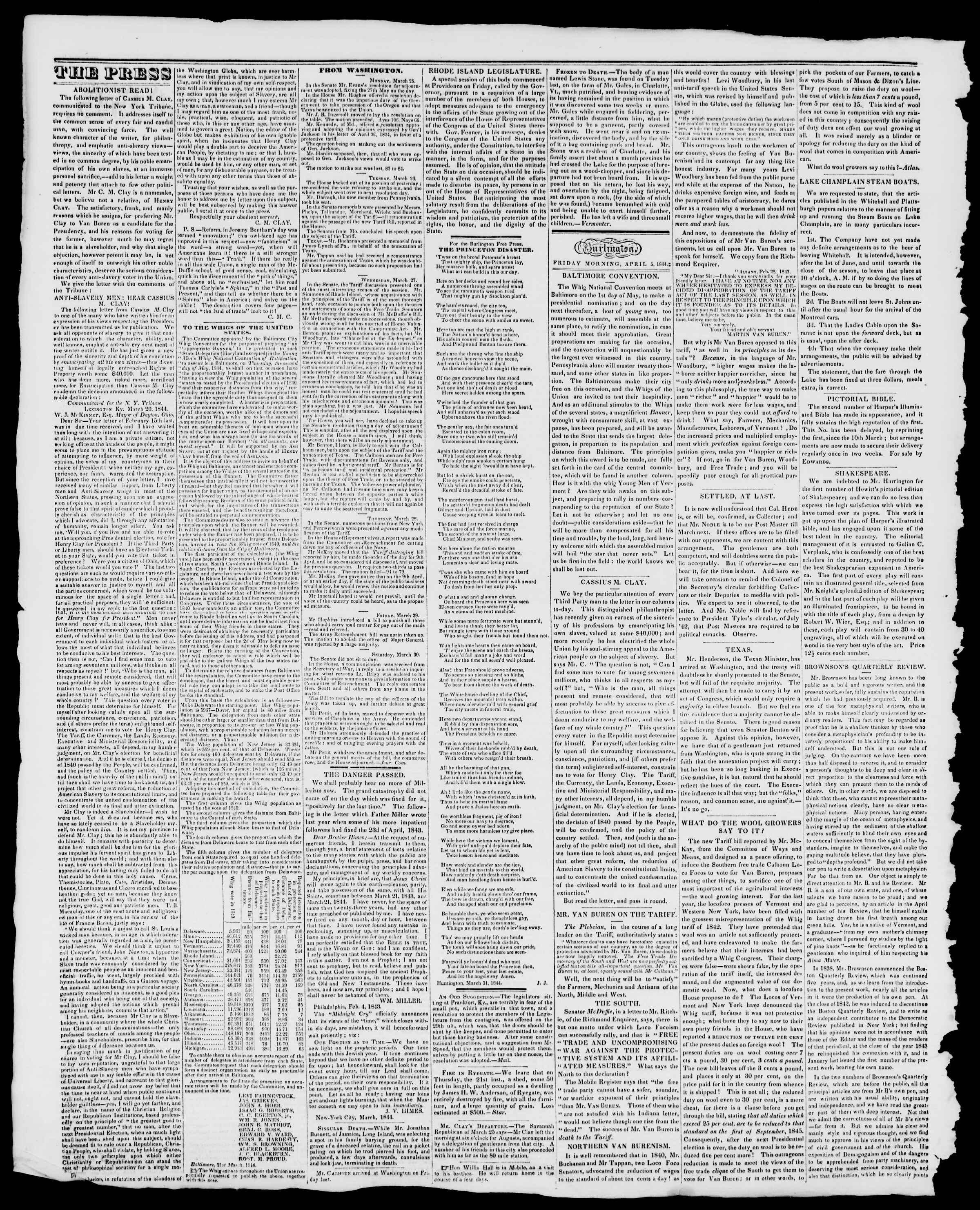 Newspaper of Burlington Free Press dated April 5, 1844 Page 2