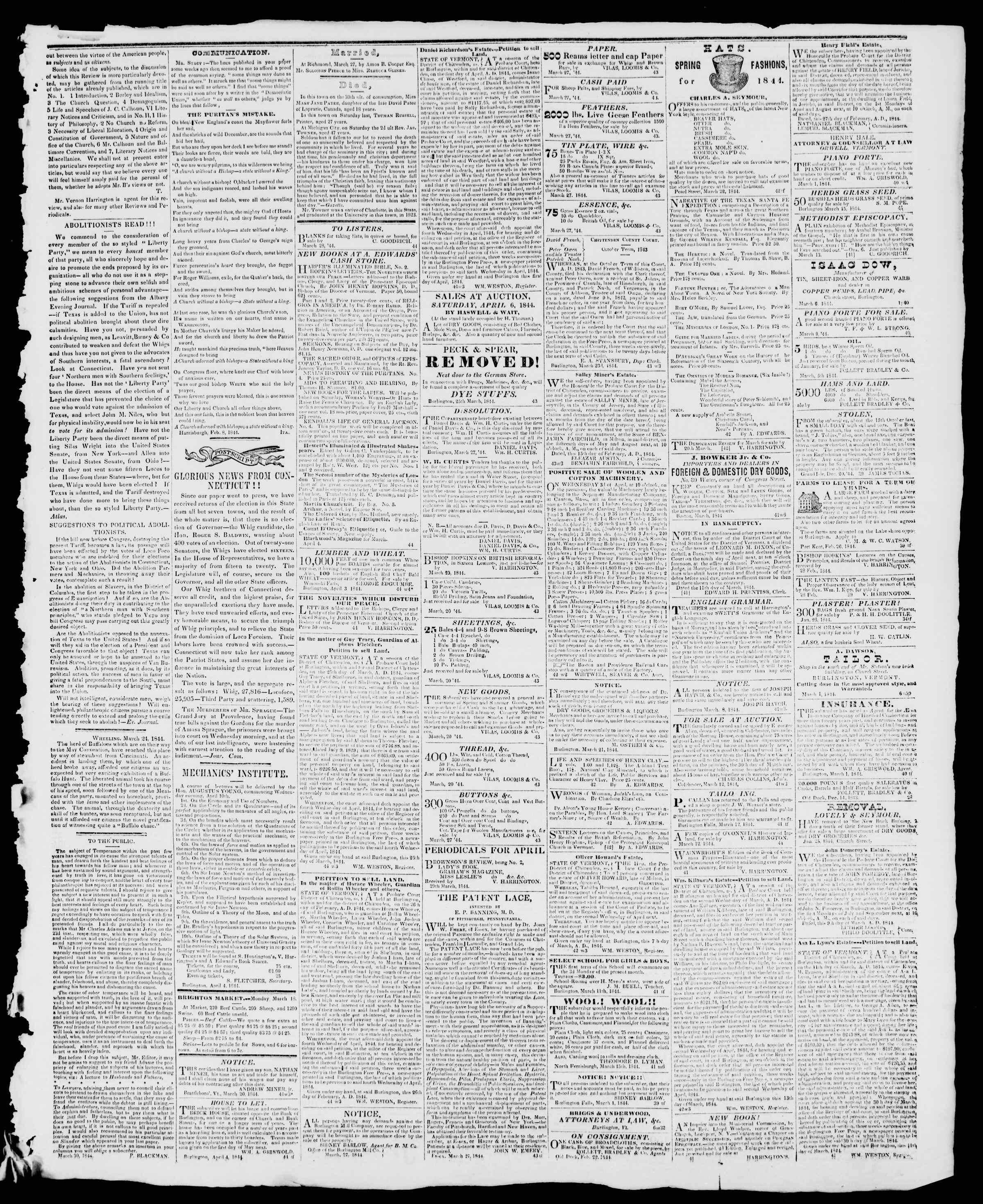 Newspaper of Burlington Free Press dated April 5, 1844 Page 3