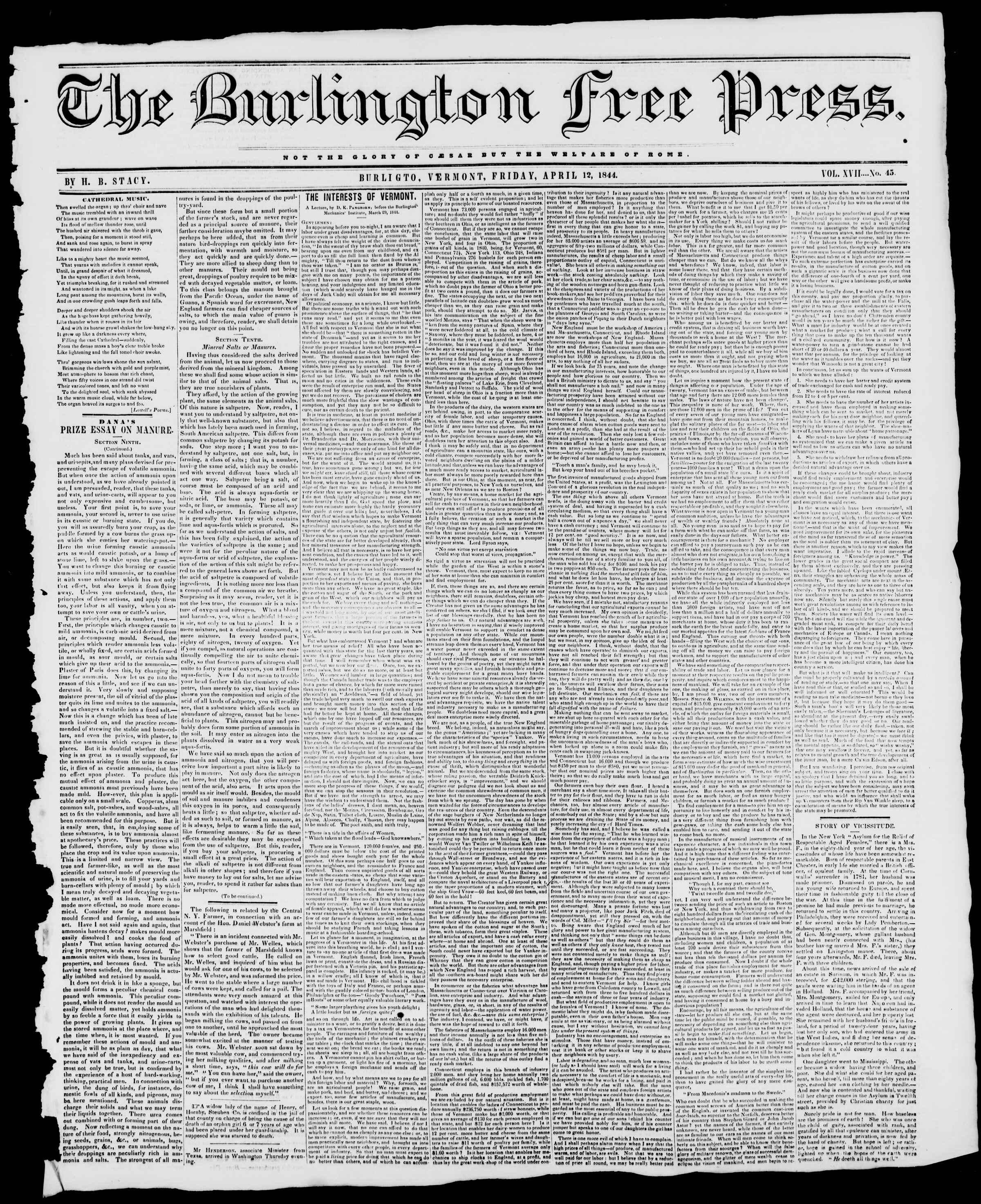 Newspaper of Burlington Free Press dated April 12, 1844 Page 1