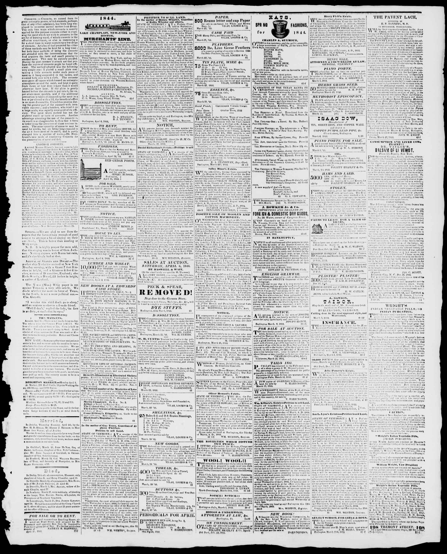 Newspaper of Burlington Free Press dated April 12, 1844 Page 3