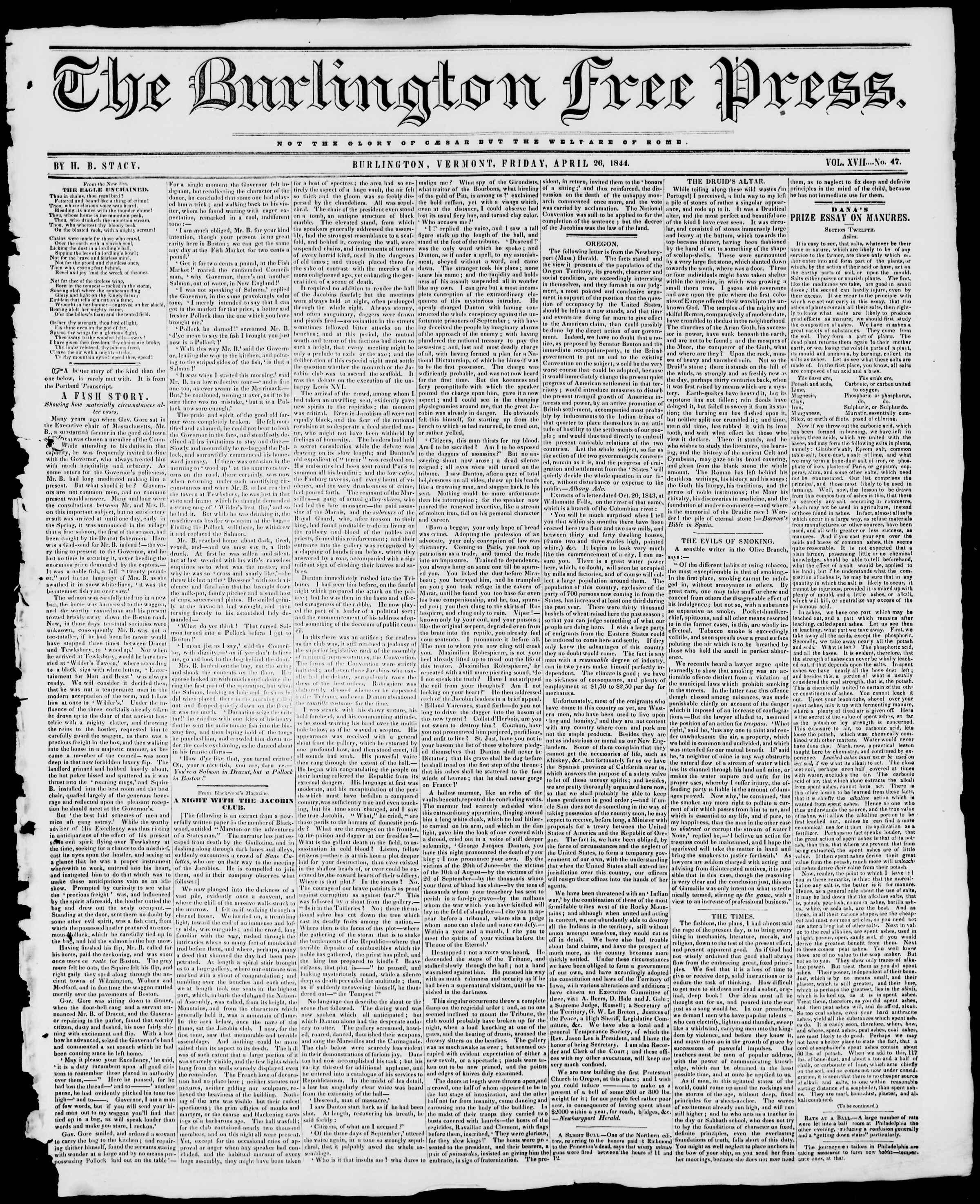 Newspaper of Burlington Free Press dated April 26, 1844 Page 1