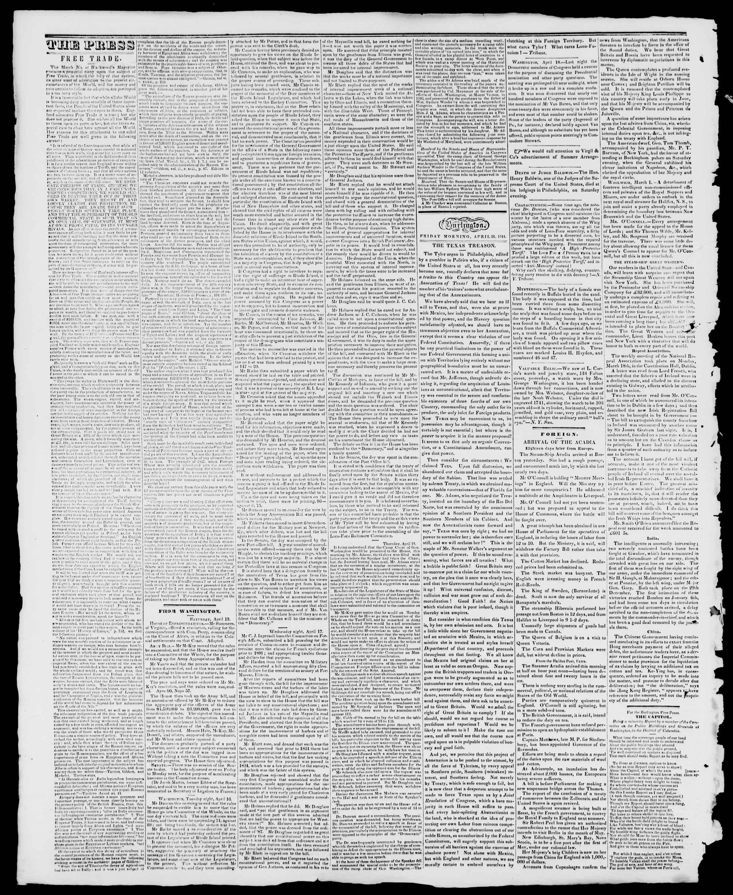Newspaper of Burlington Free Press dated April 26, 1844 Page 2