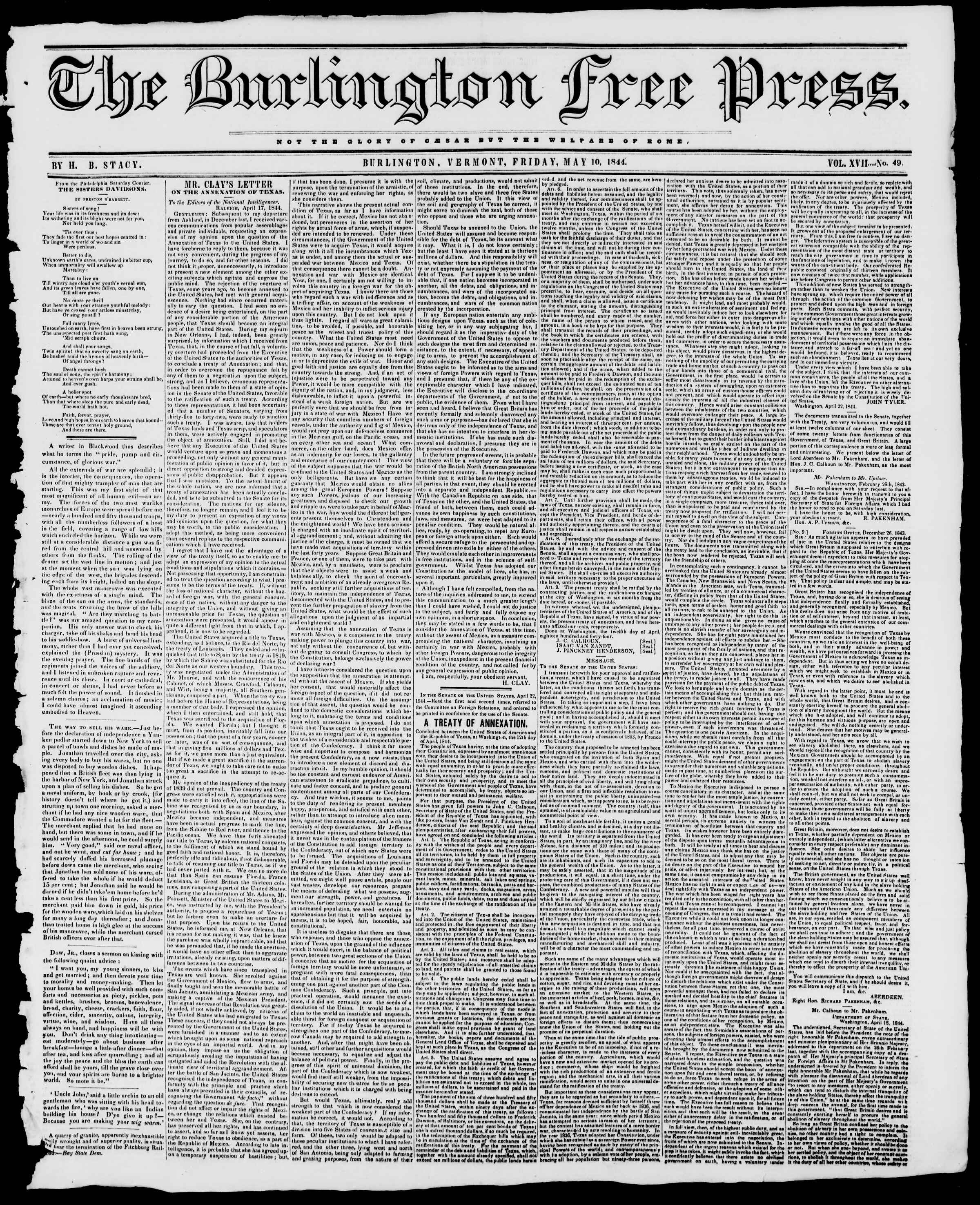 Newspaper of Burlington Free Press dated May 10, 1844 Page 1
