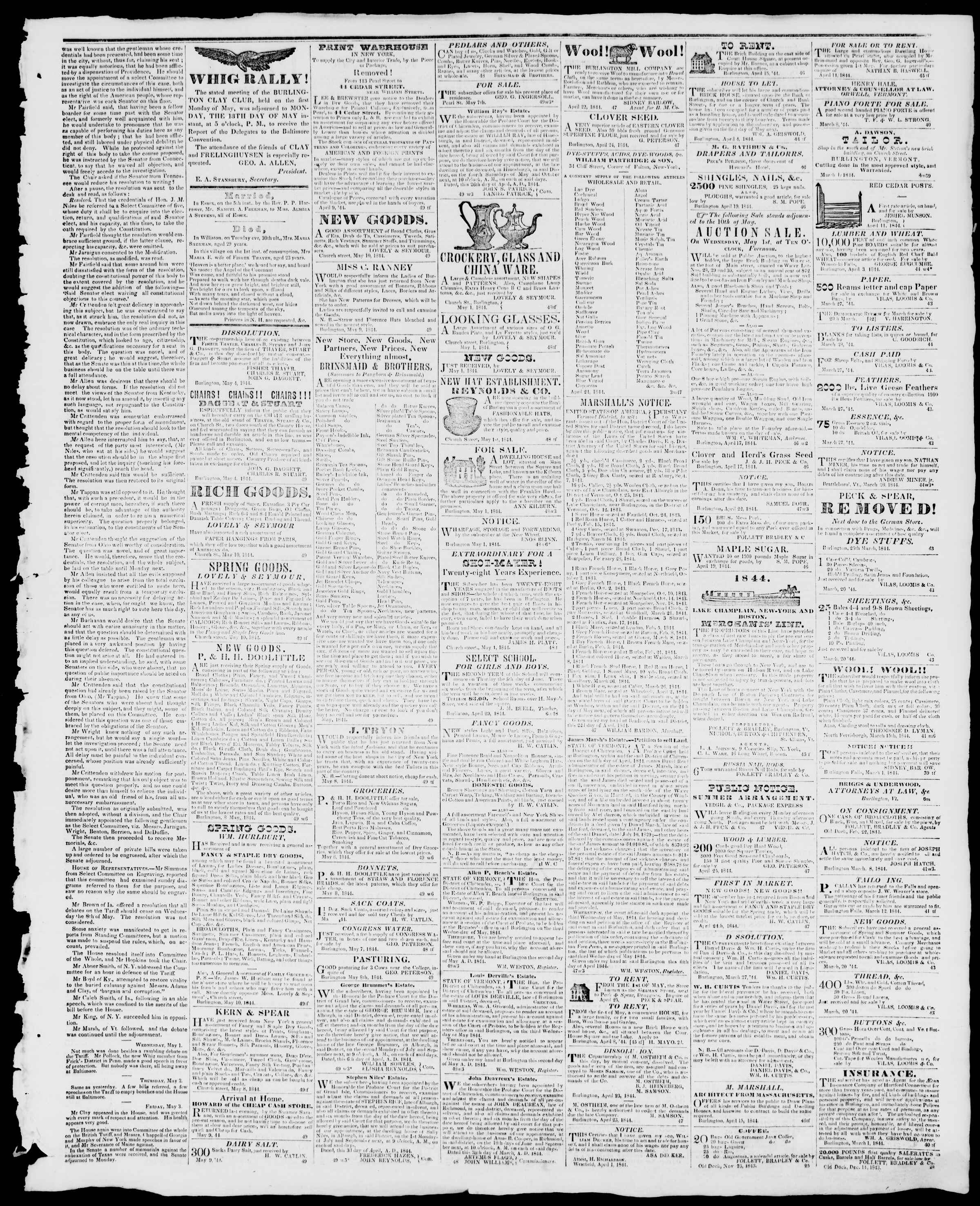 Newspaper of Burlington Free Press dated May 10, 1844 Page 3
