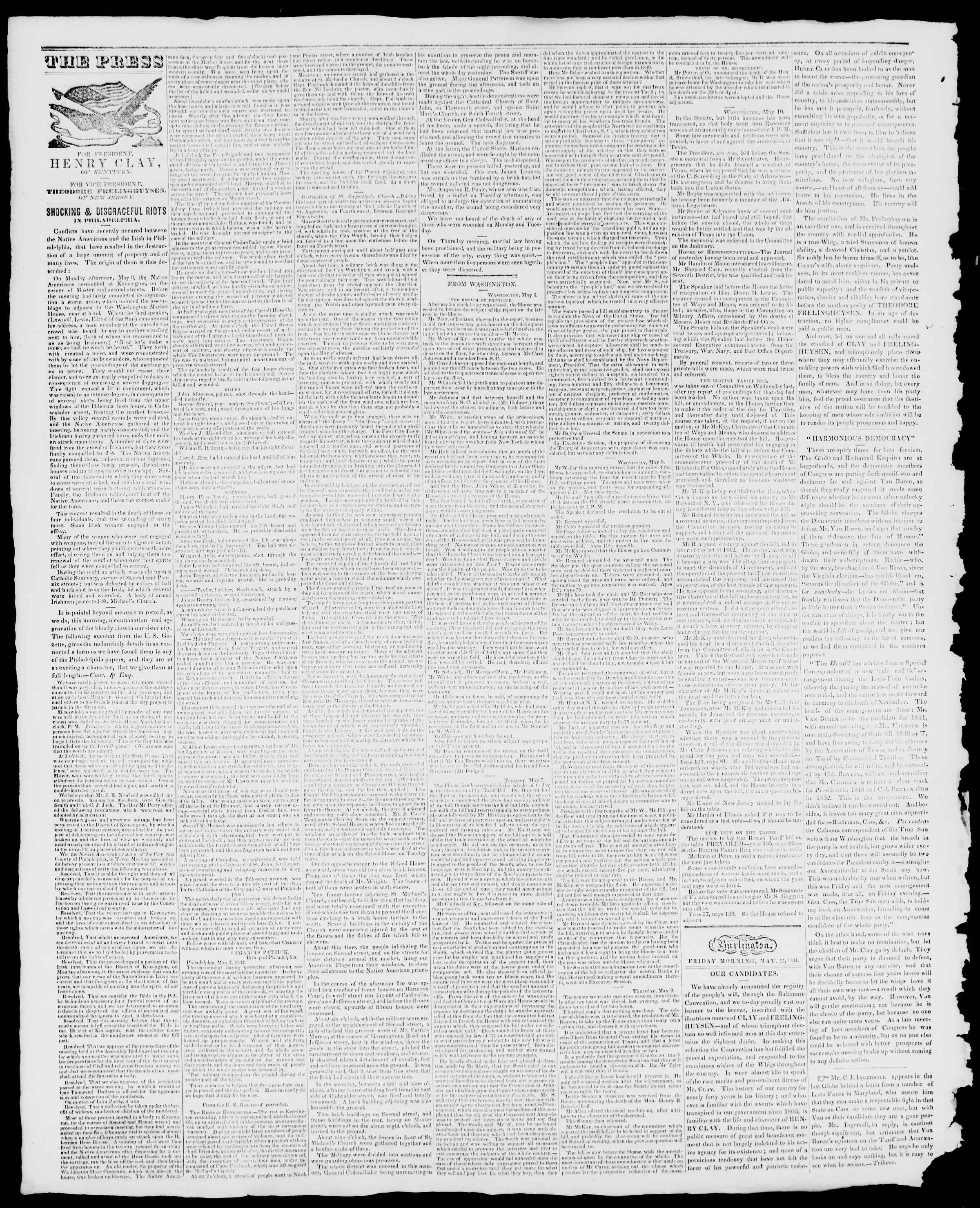 Newspaper of Burlington Free Press dated May 17, 1844 Page 2