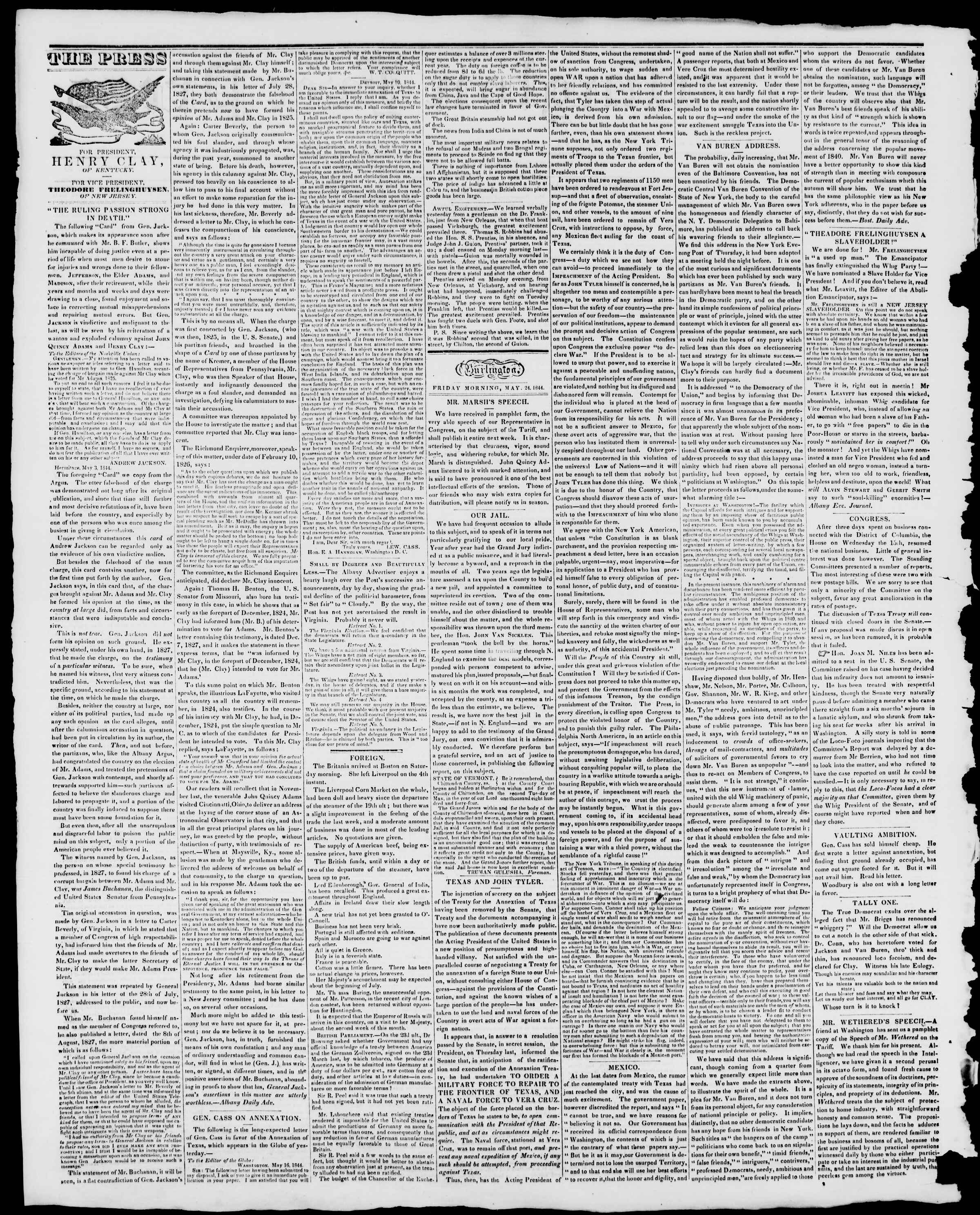 Newspaper of Burlington Free Press dated May 24, 1844 Page 2