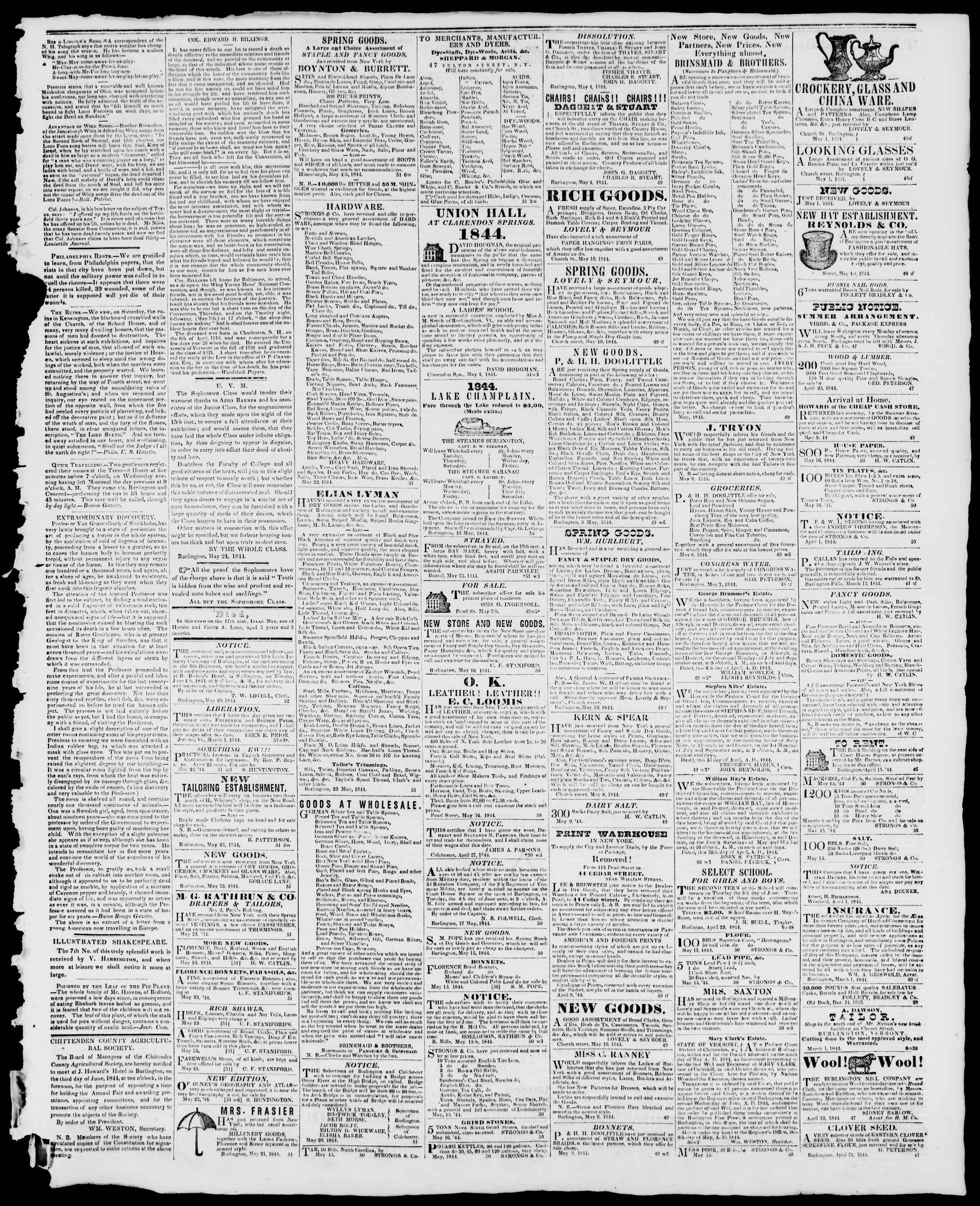 Newspaper of Burlington Free Press dated May 24, 1844 Page 3
