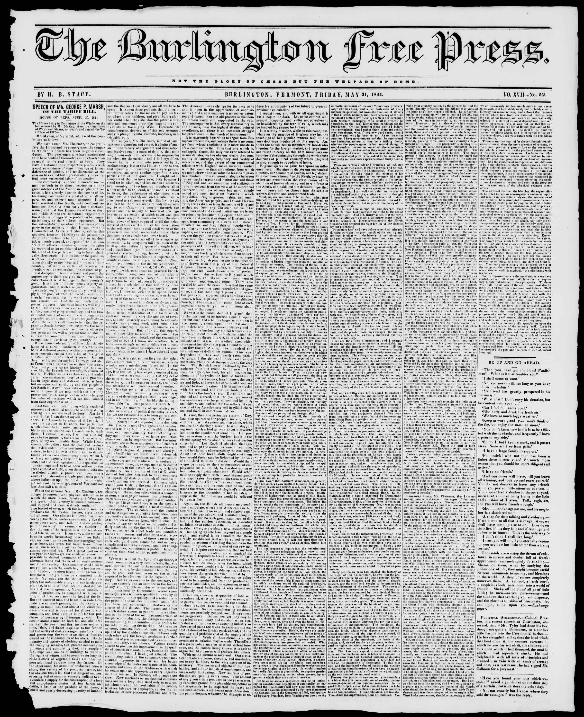Newspaper of Burlington Free Press dated May 31, 1844 Page 1