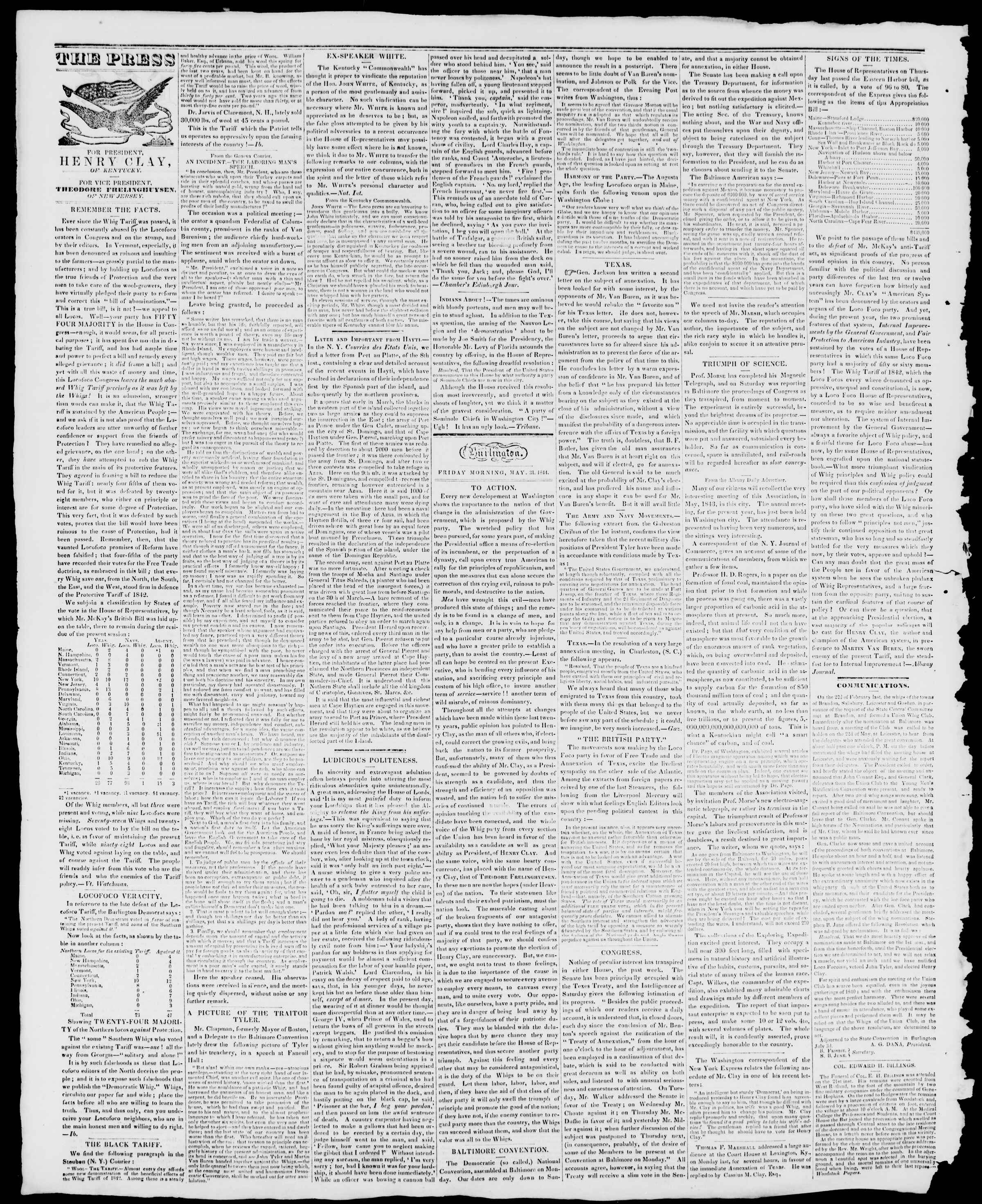 Newspaper of Burlington Free Press dated May 31, 1844 Page 2