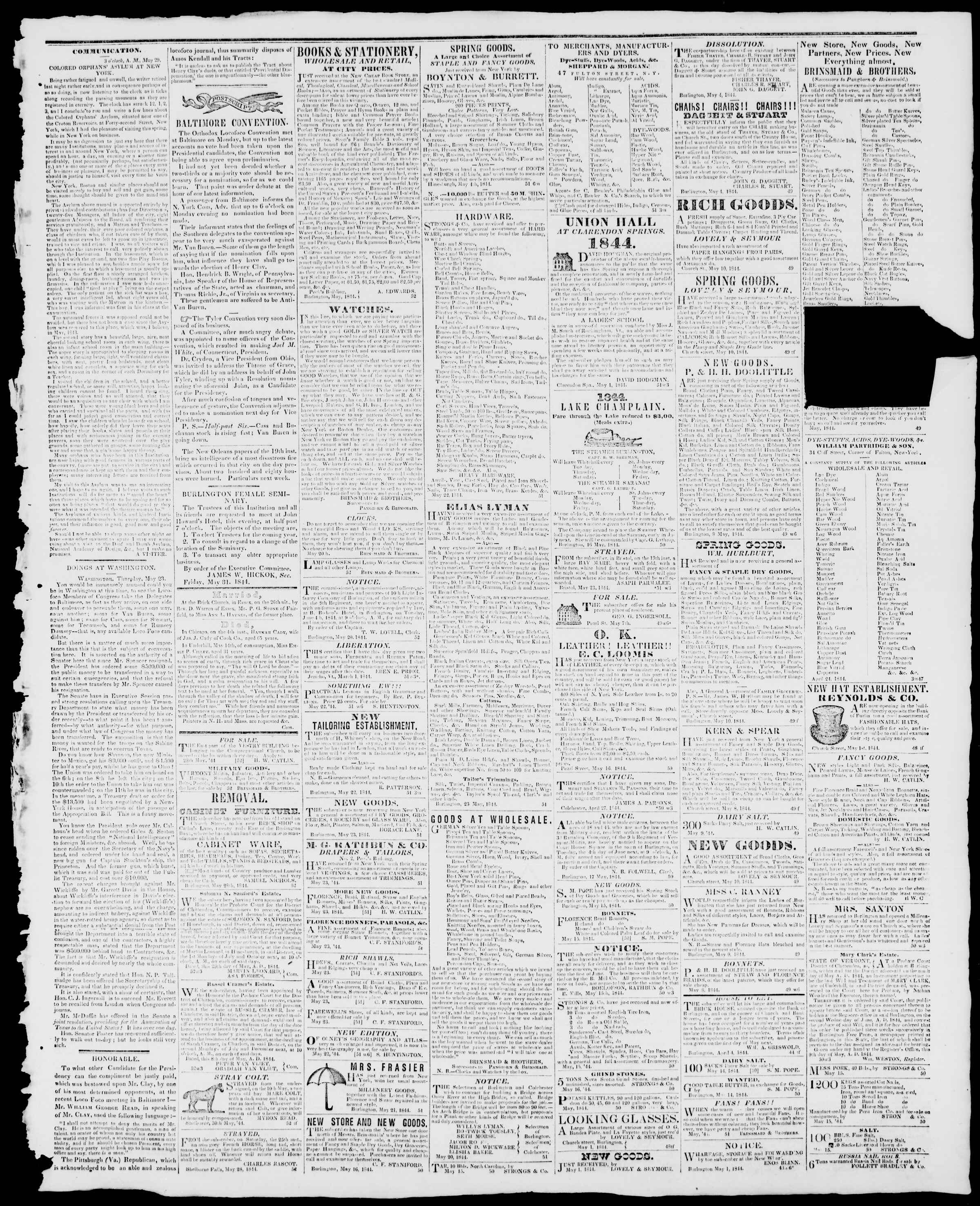 Newspaper of Burlington Free Press dated May 31, 1844 Page 3