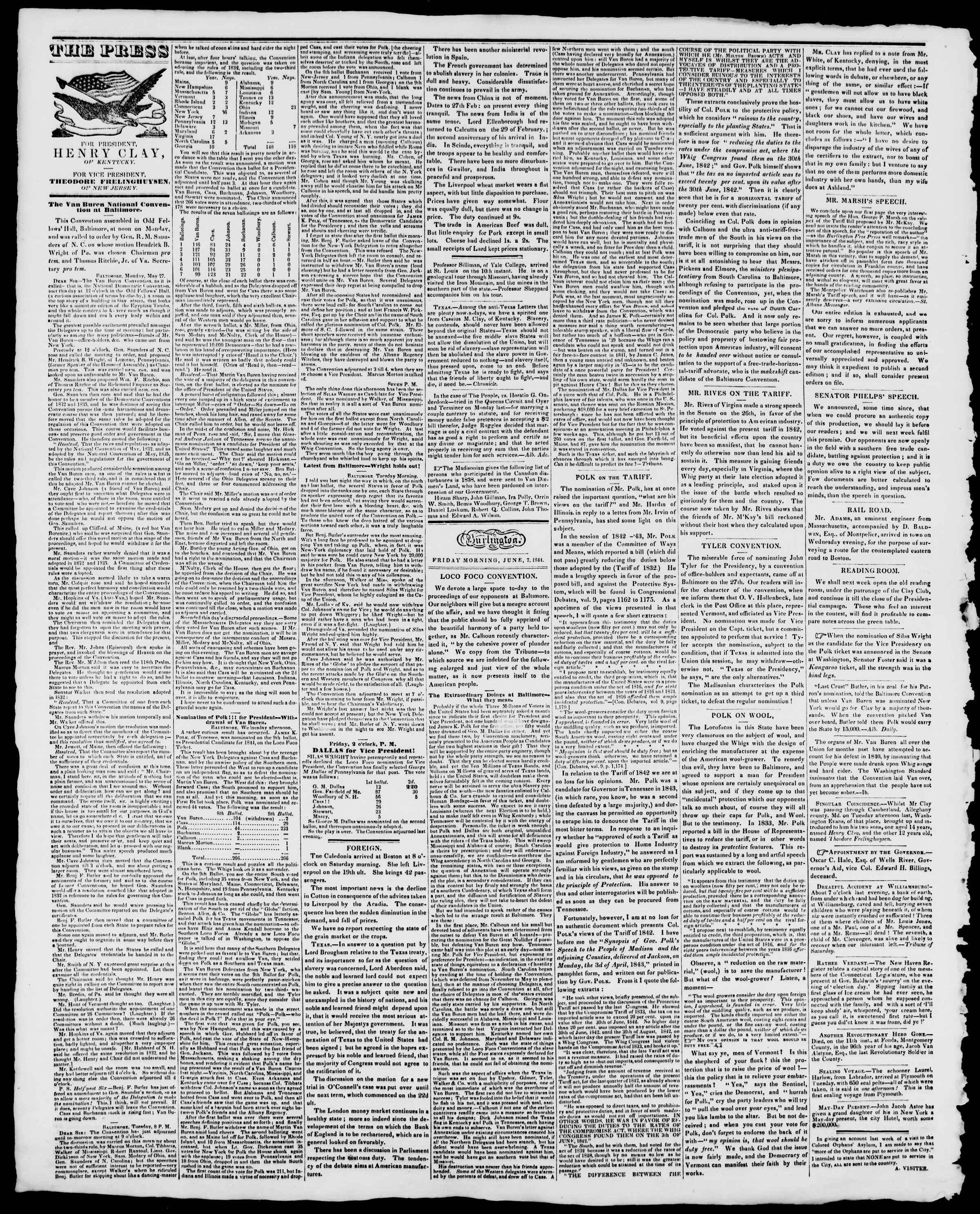 Newspaper of Burlington Free Press dated June 7, 1844 Page 2