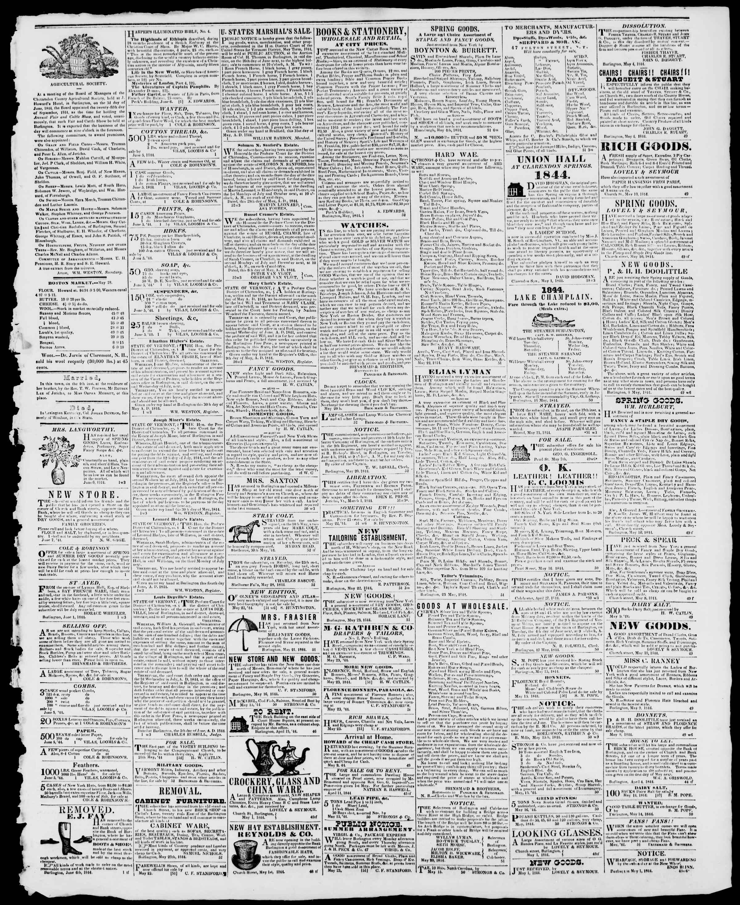 Newspaper of Burlington Free Press dated June 7, 1844 Page 3