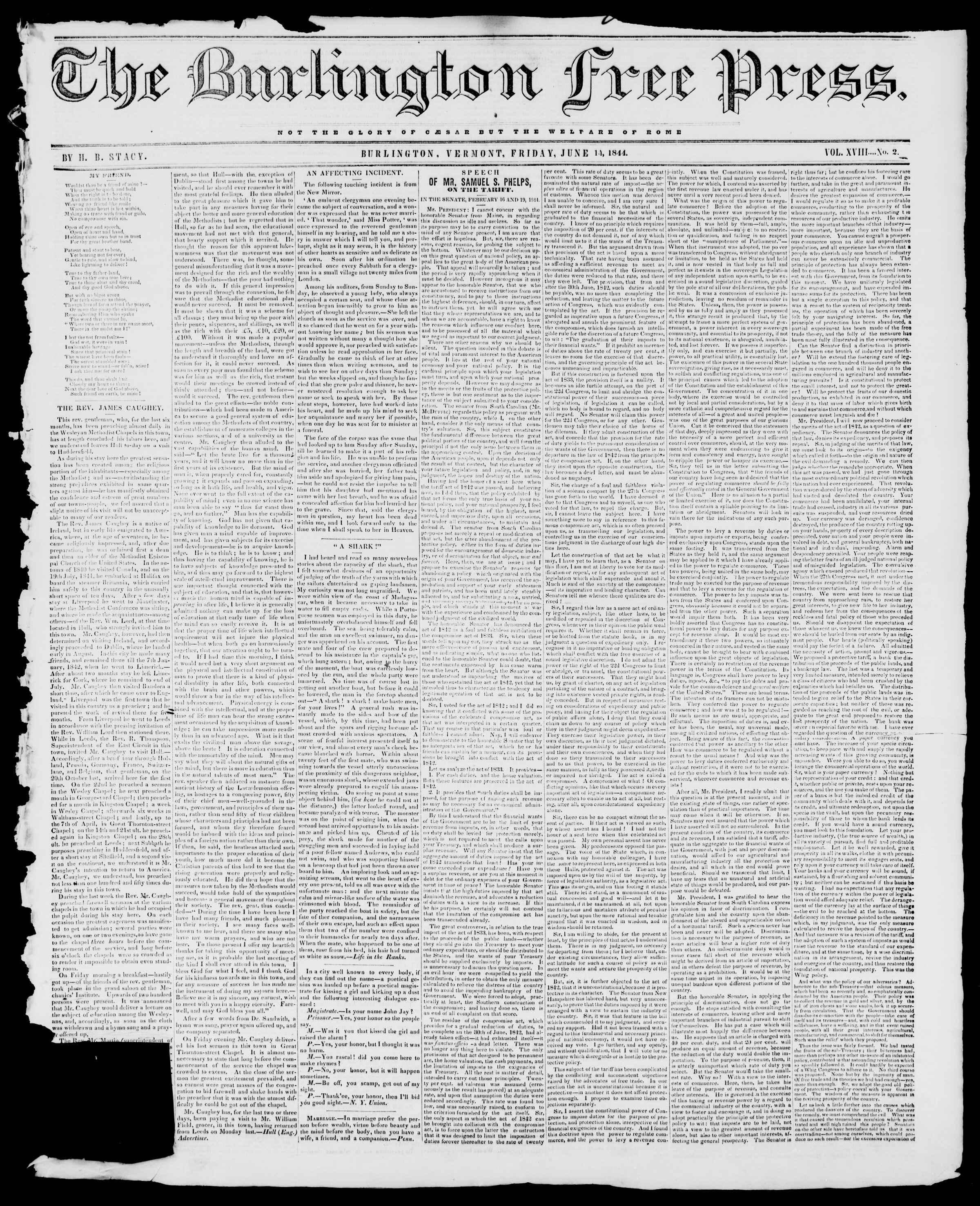 Newspaper of Burlington Free Press dated June 14, 1844 Page 1