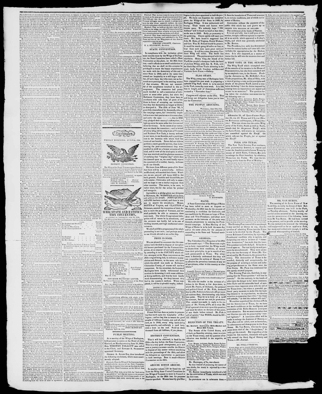 Newspaper of Burlington Free Press dated June 14, 1844 Page 2