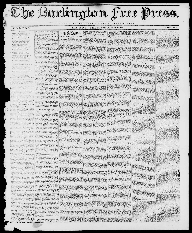 Newspaper of Burlington Free Press dated June 21, 1844 Page 1