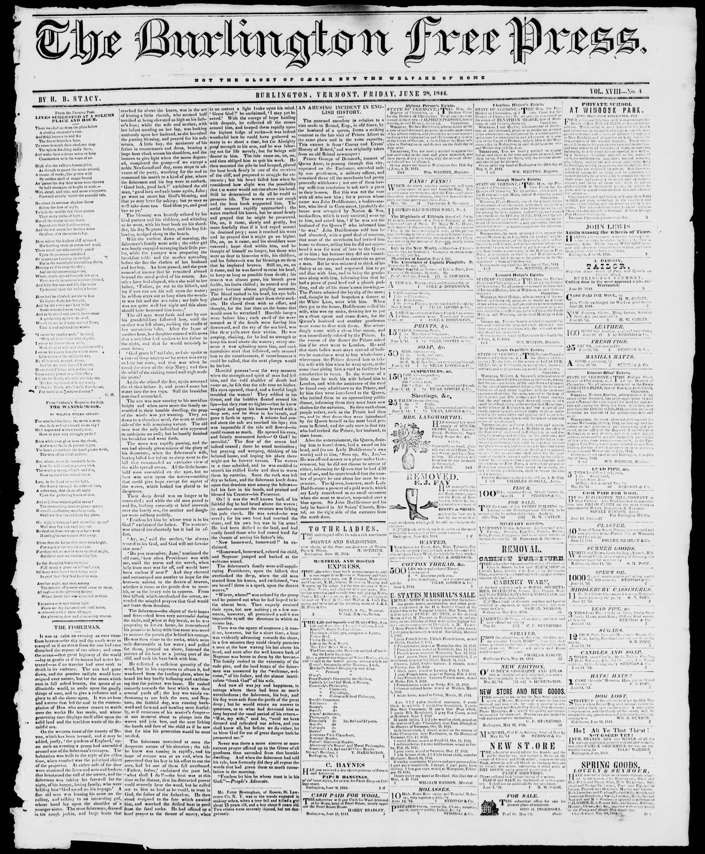 Newspaper of Burlington Free Press dated June 28, 1844 Page 1