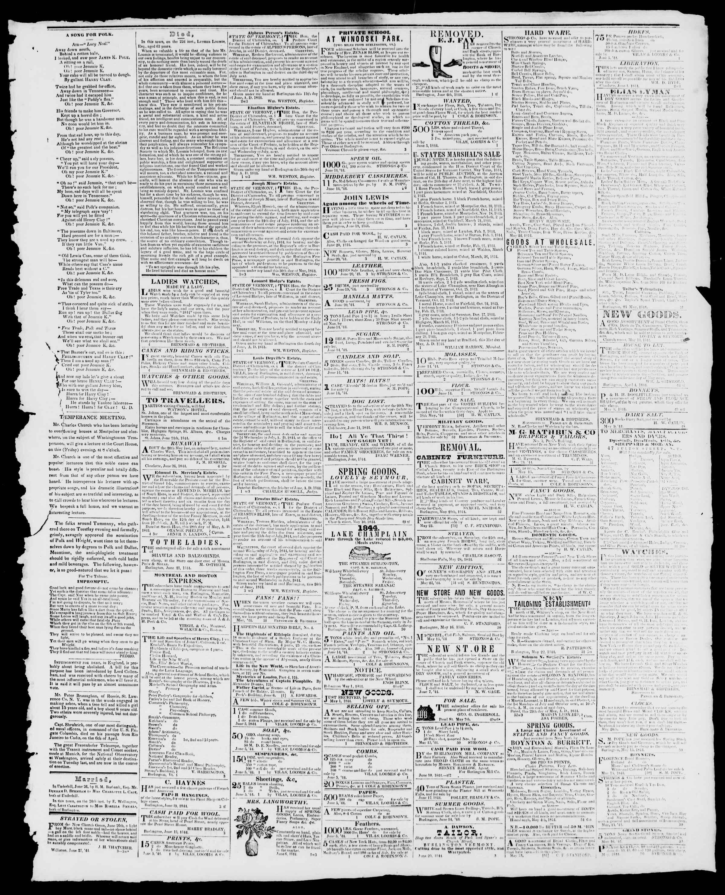 Newspaper of Burlington Free Press dated June 28, 1844 Page 3
