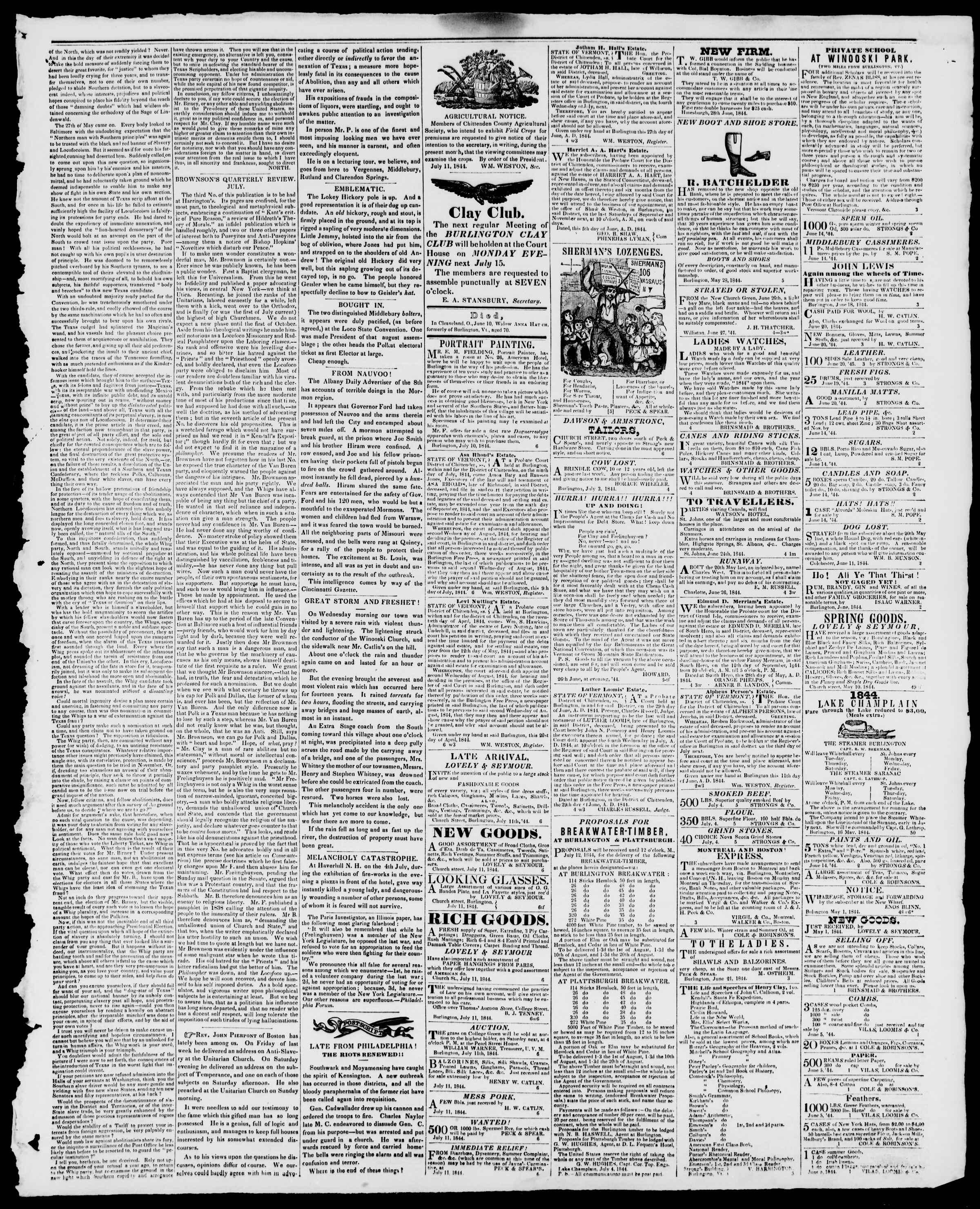 Newspaper of Burlington Free Press dated July 12, 1844 Page 3