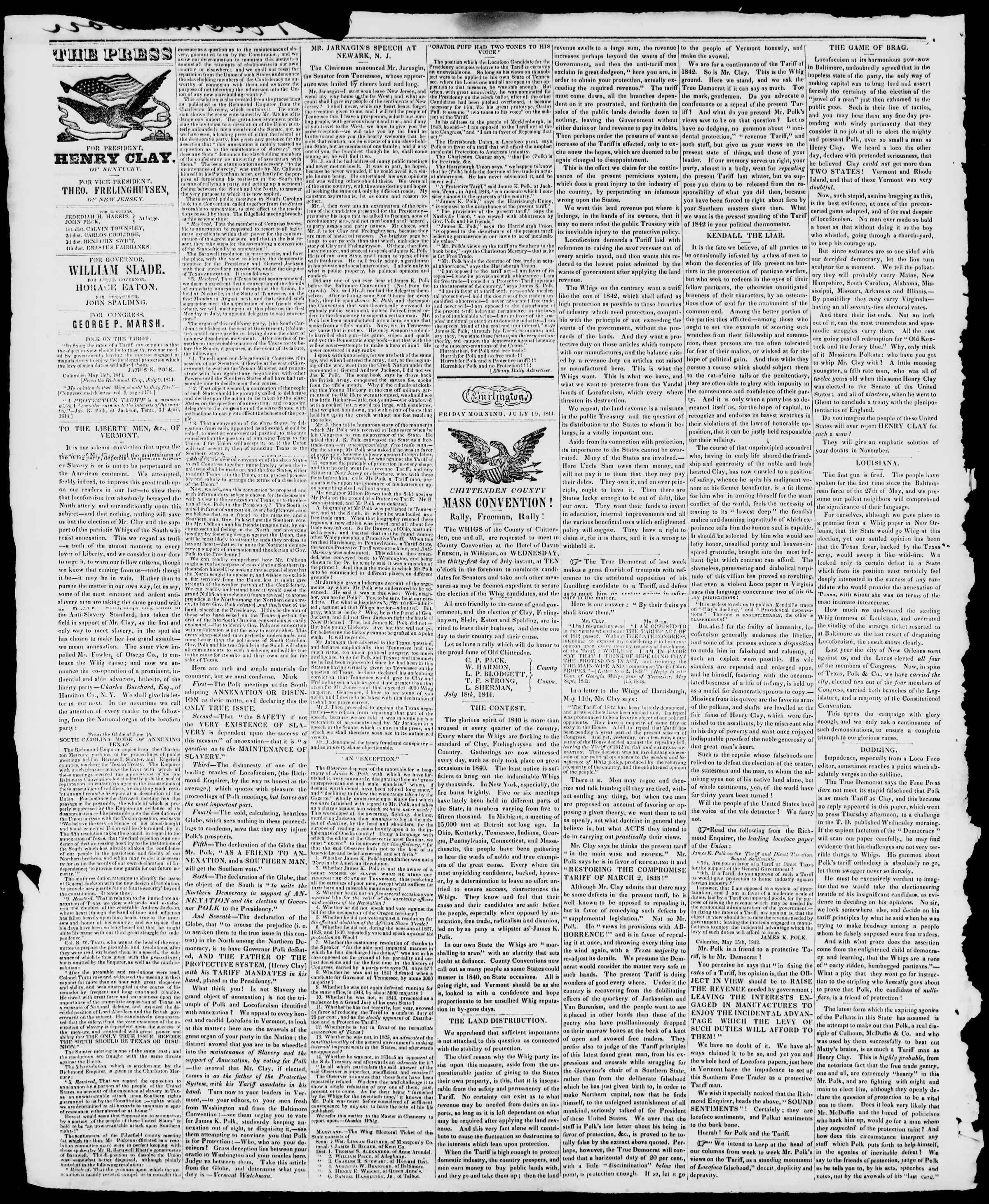Newspaper of Burlington Free Press dated July 19, 1844 Page 2