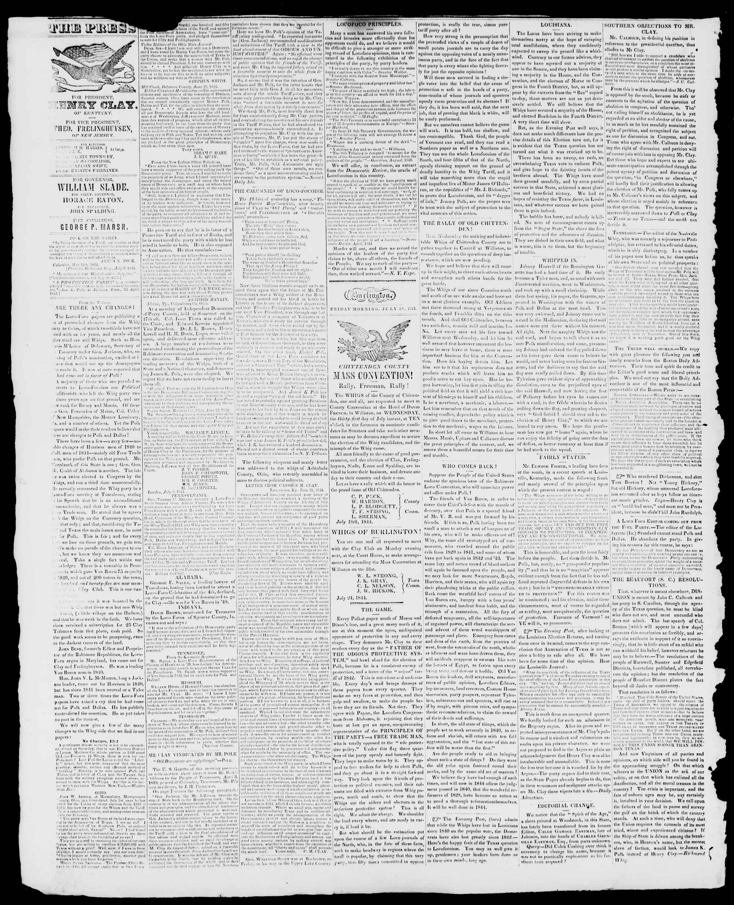 Newspaper of Burlington Free Press dated July 26, 1844 Page 2