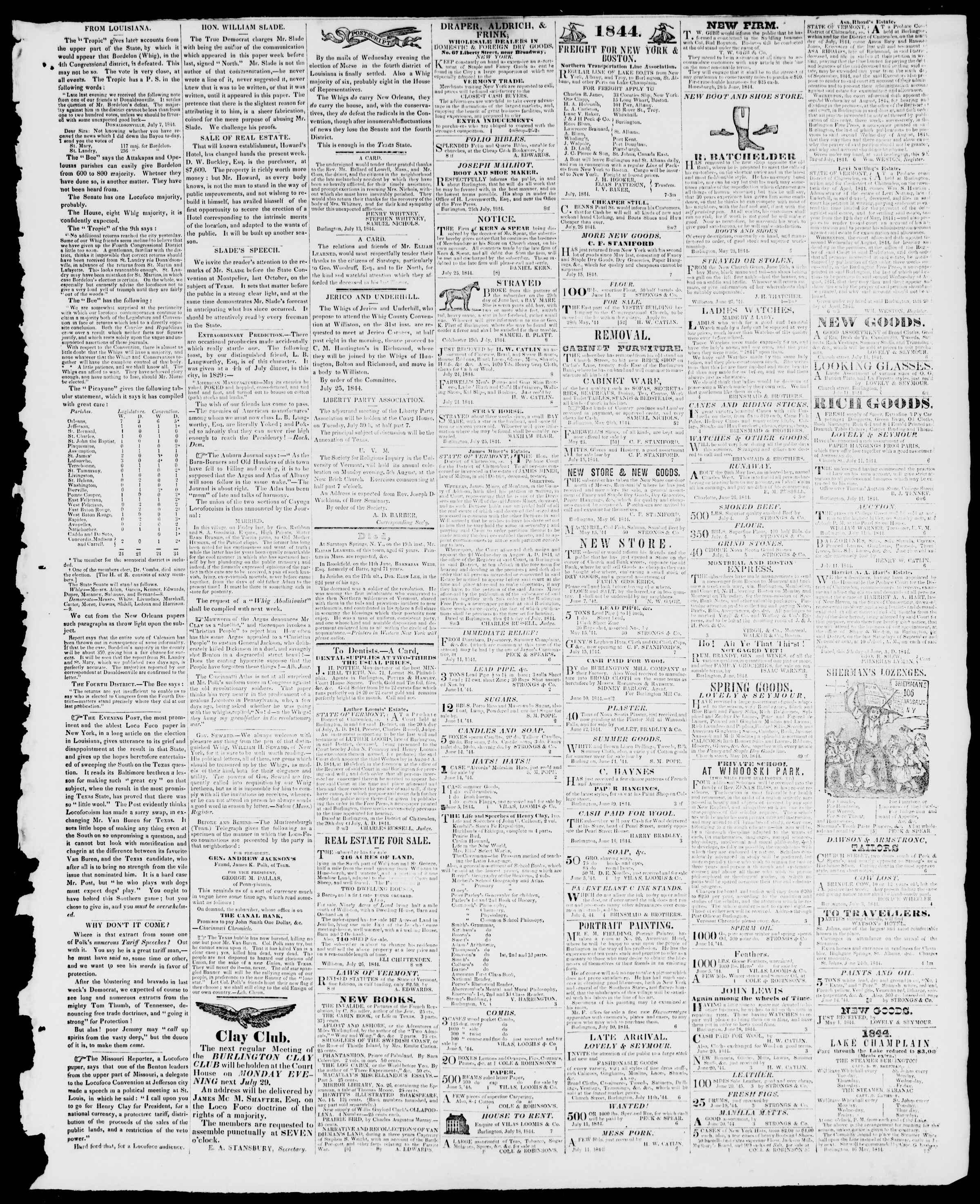 Newspaper of Burlington Free Press dated July 26, 1844 Page 3