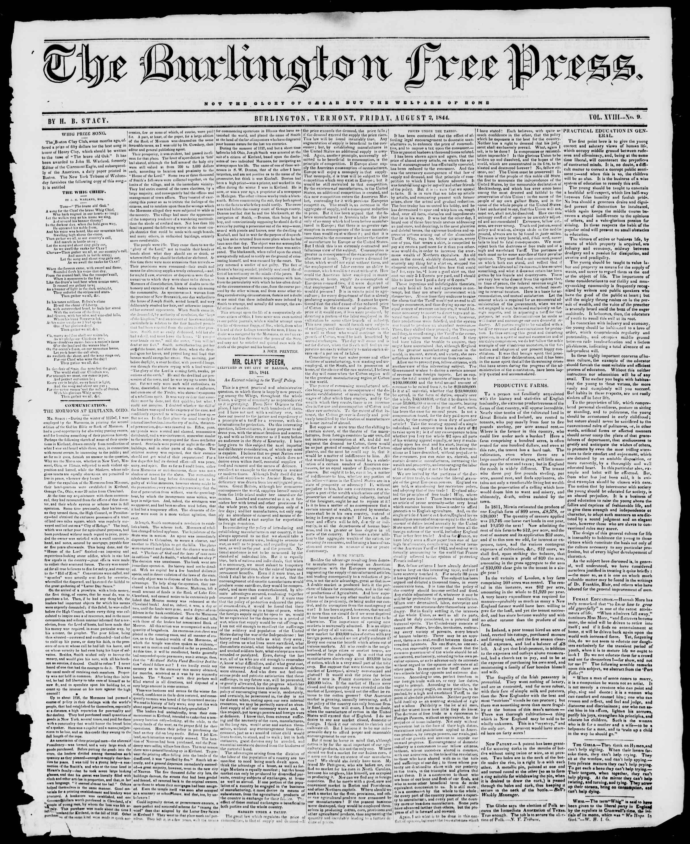 Newspaper of Burlington Free Press dated August 2, 1844 Page 1