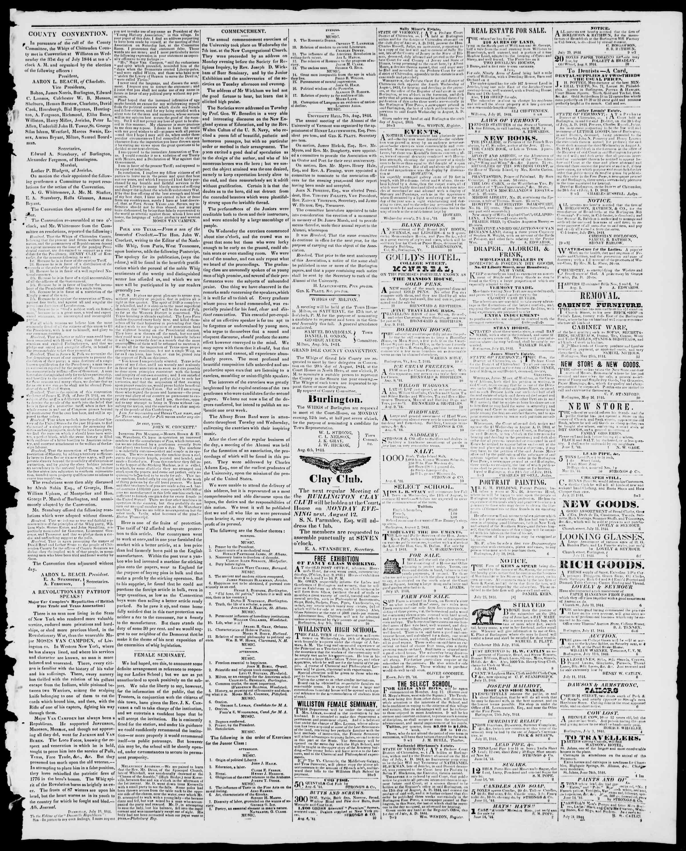 Newspaper of Burlington Free Press dated August 9, 1844 Page 3