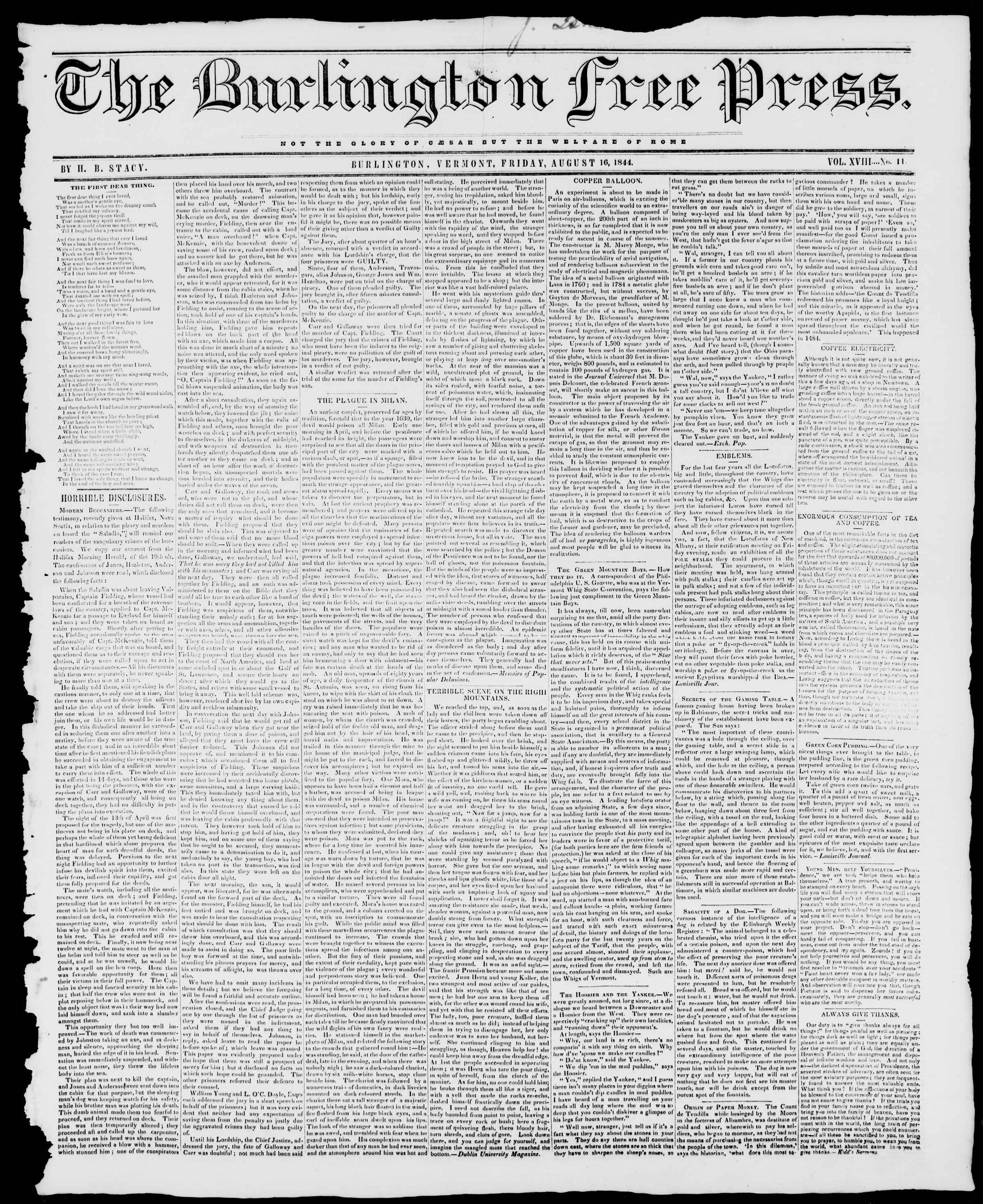 Newspaper of Burlington Free Press dated August 16, 1844 Page 1
