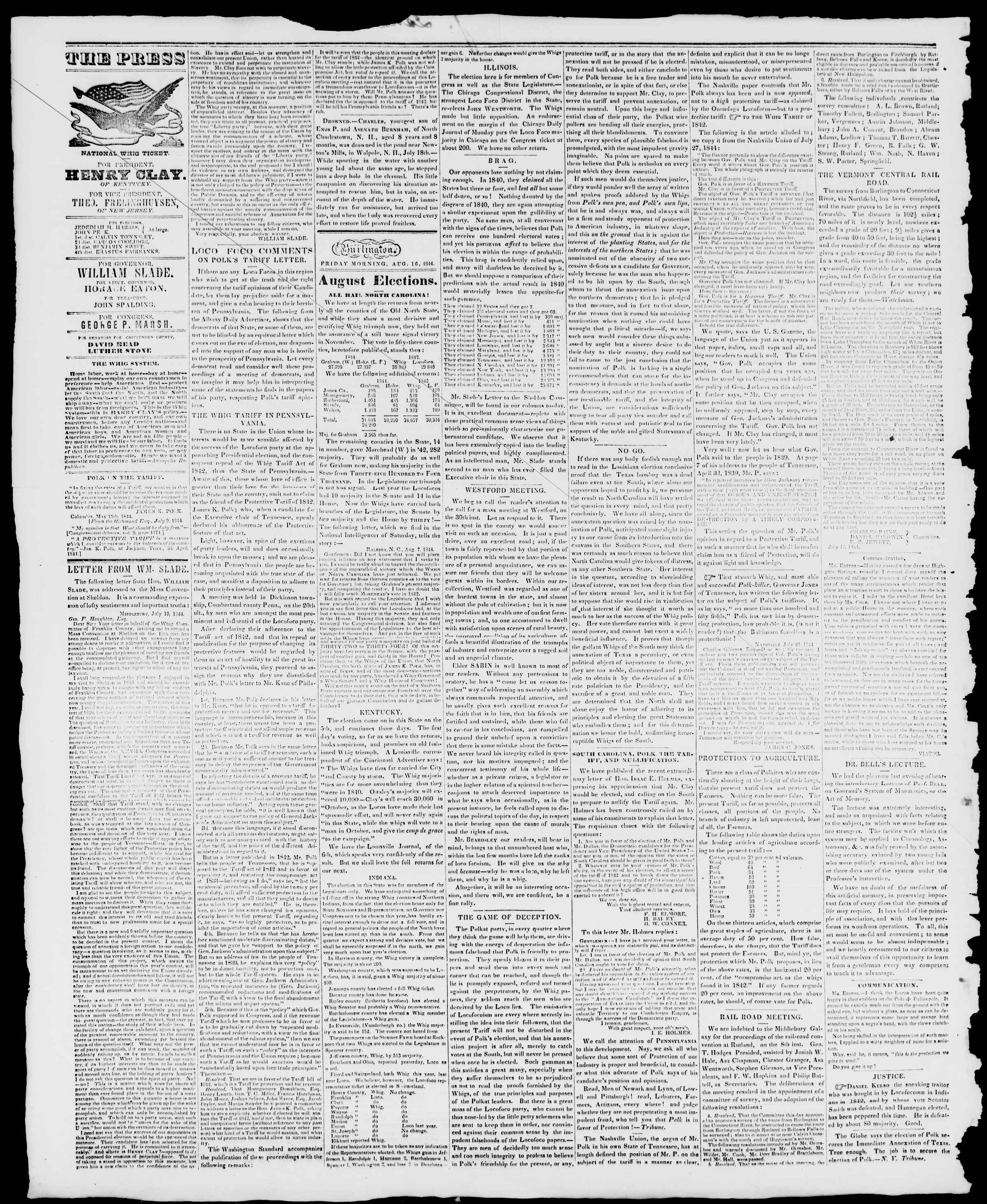 Newspaper of Burlington Free Press dated August 16, 1844 Page 2