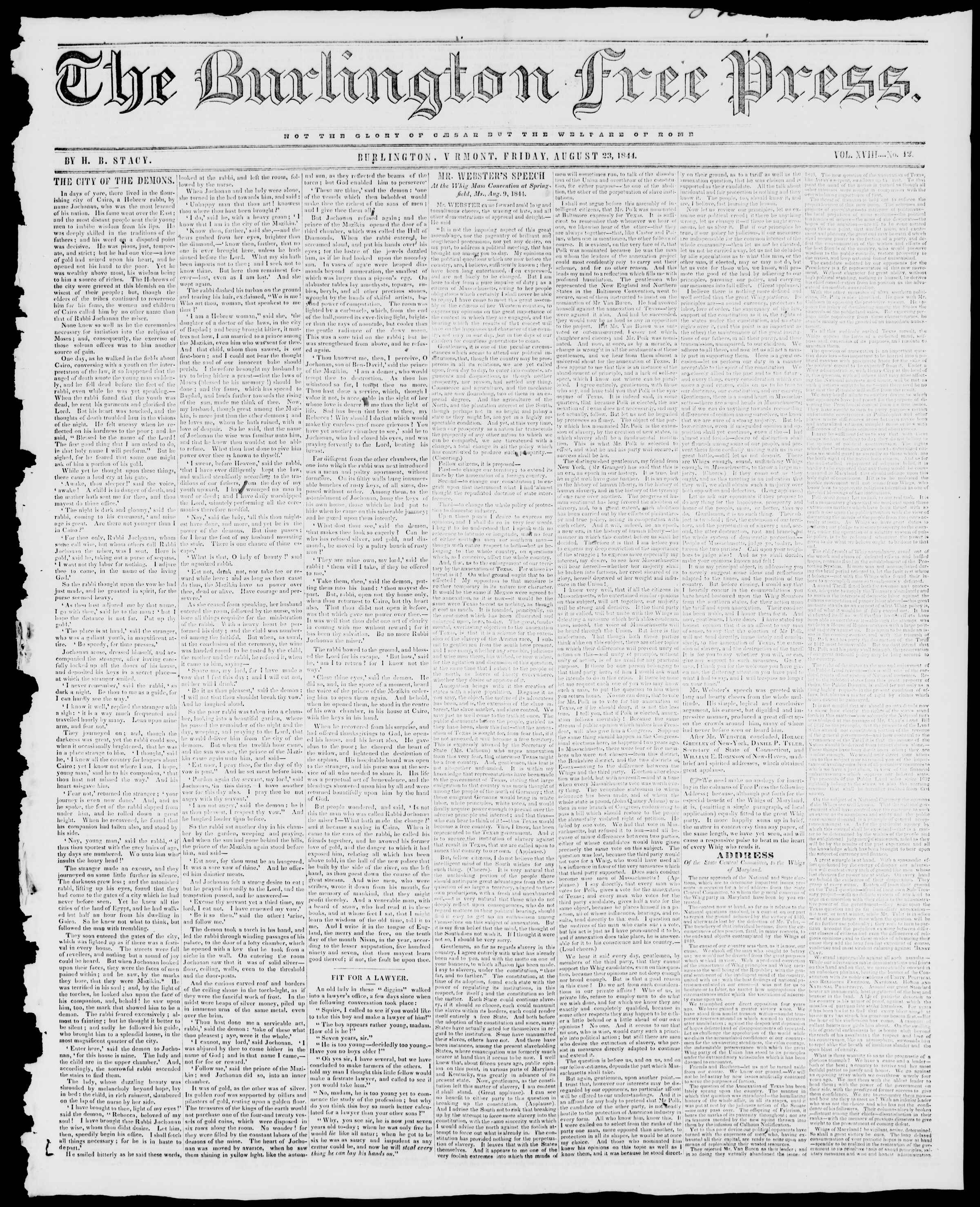Newspaper of Burlington Free Press dated August 23, 1844 Page 1