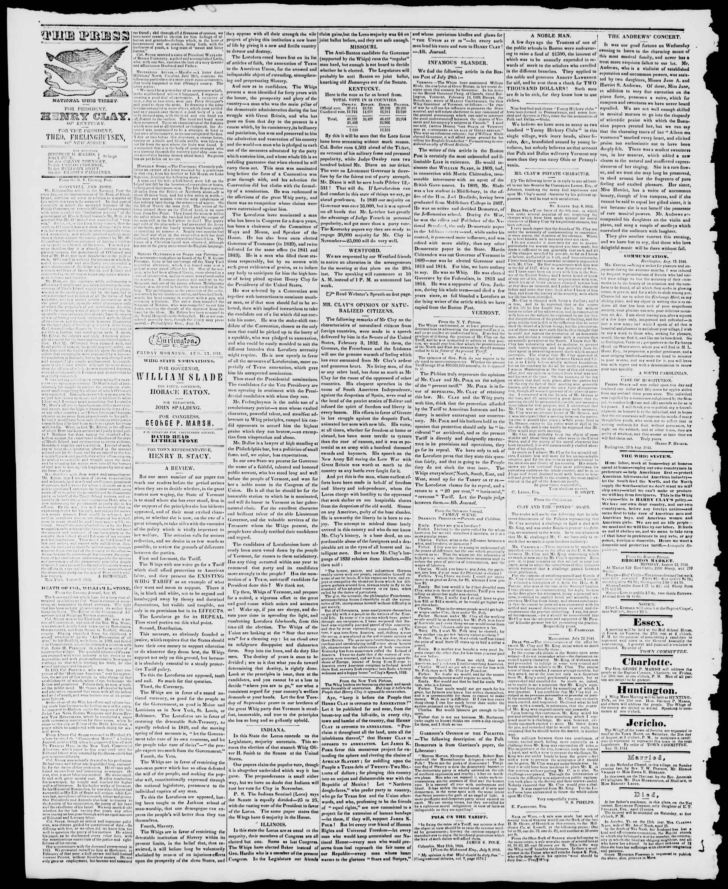 Newspaper of Burlington Free Press dated August 23, 1844 Page 2