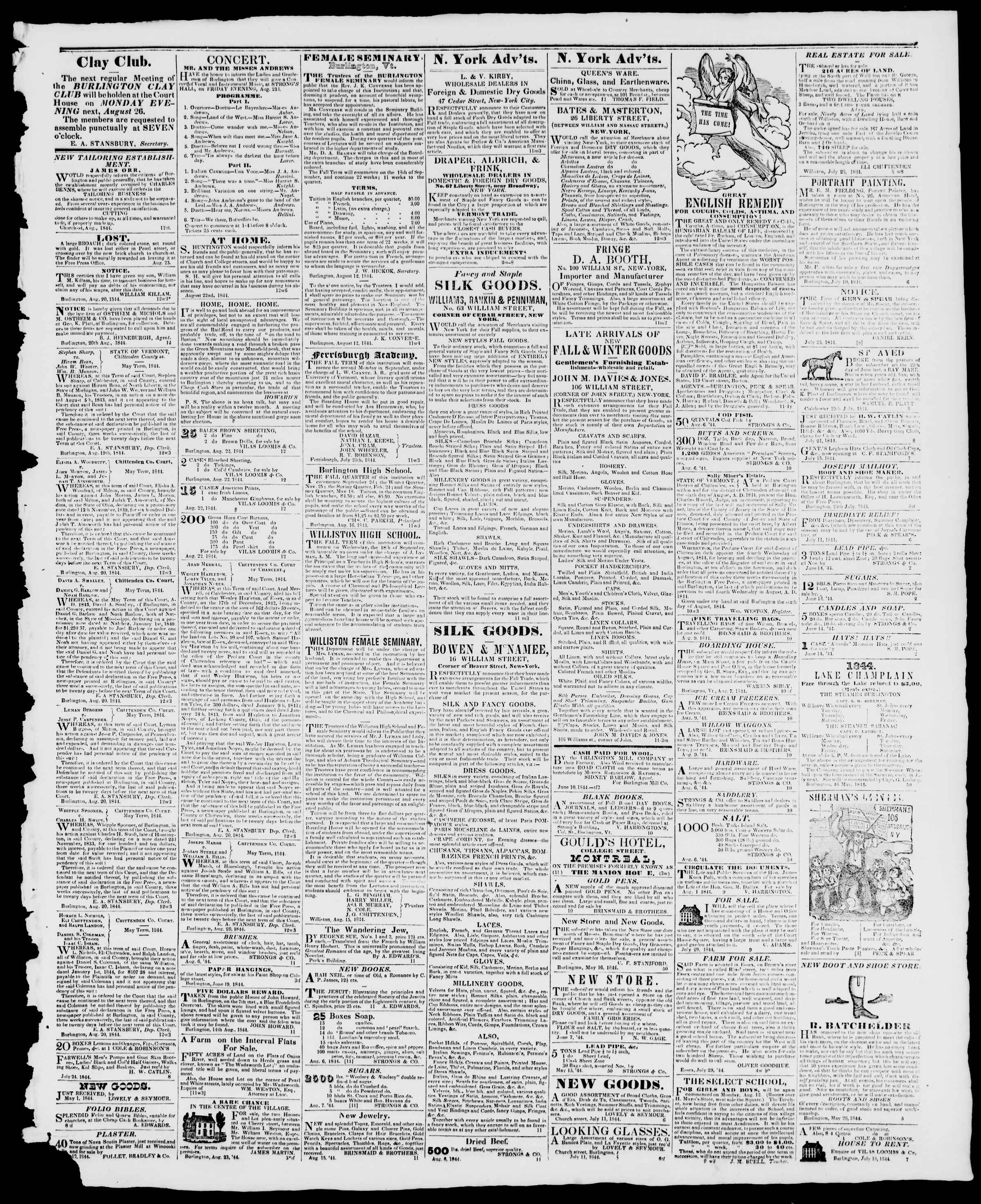 Newspaper of Burlington Free Press dated August 23, 1844 Page 3