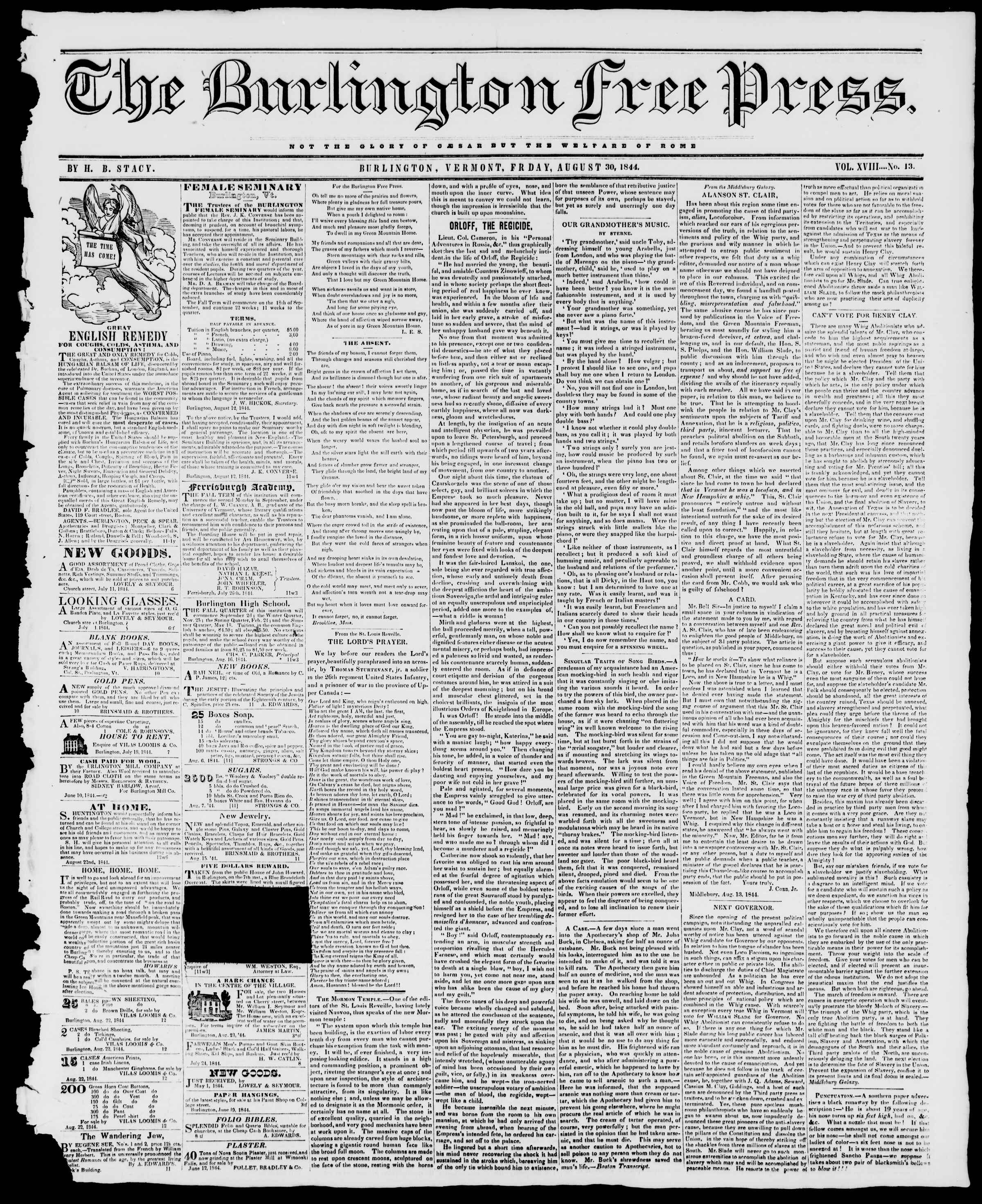 Newspaper of Burlington Free Press dated August 30, 1844 Page 1