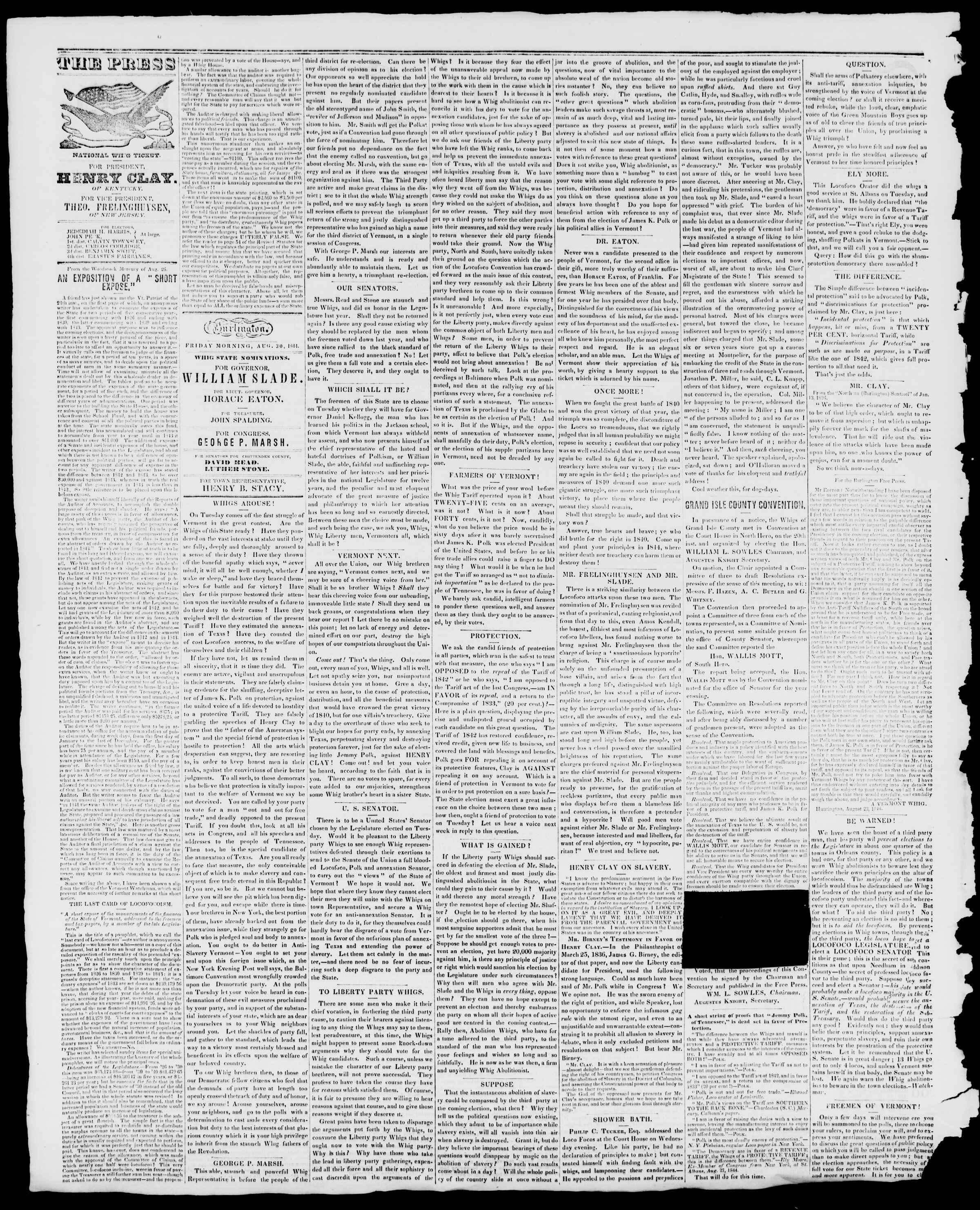 Newspaper of Burlington Free Press dated August 30, 1844 Page 2