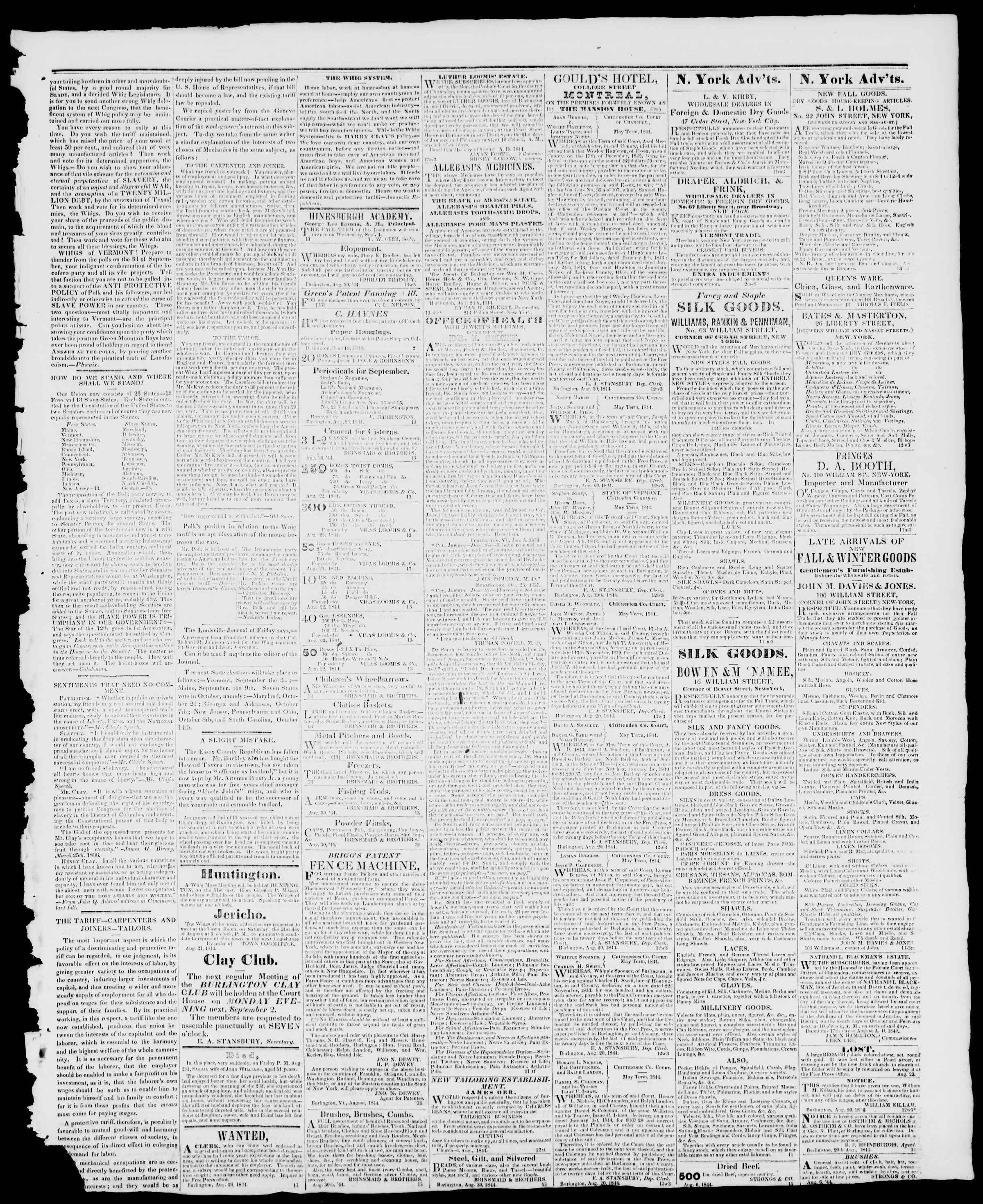 30 Ağustos 1844 tarihli Burlington Free Press Gazetesi Sayfa 3