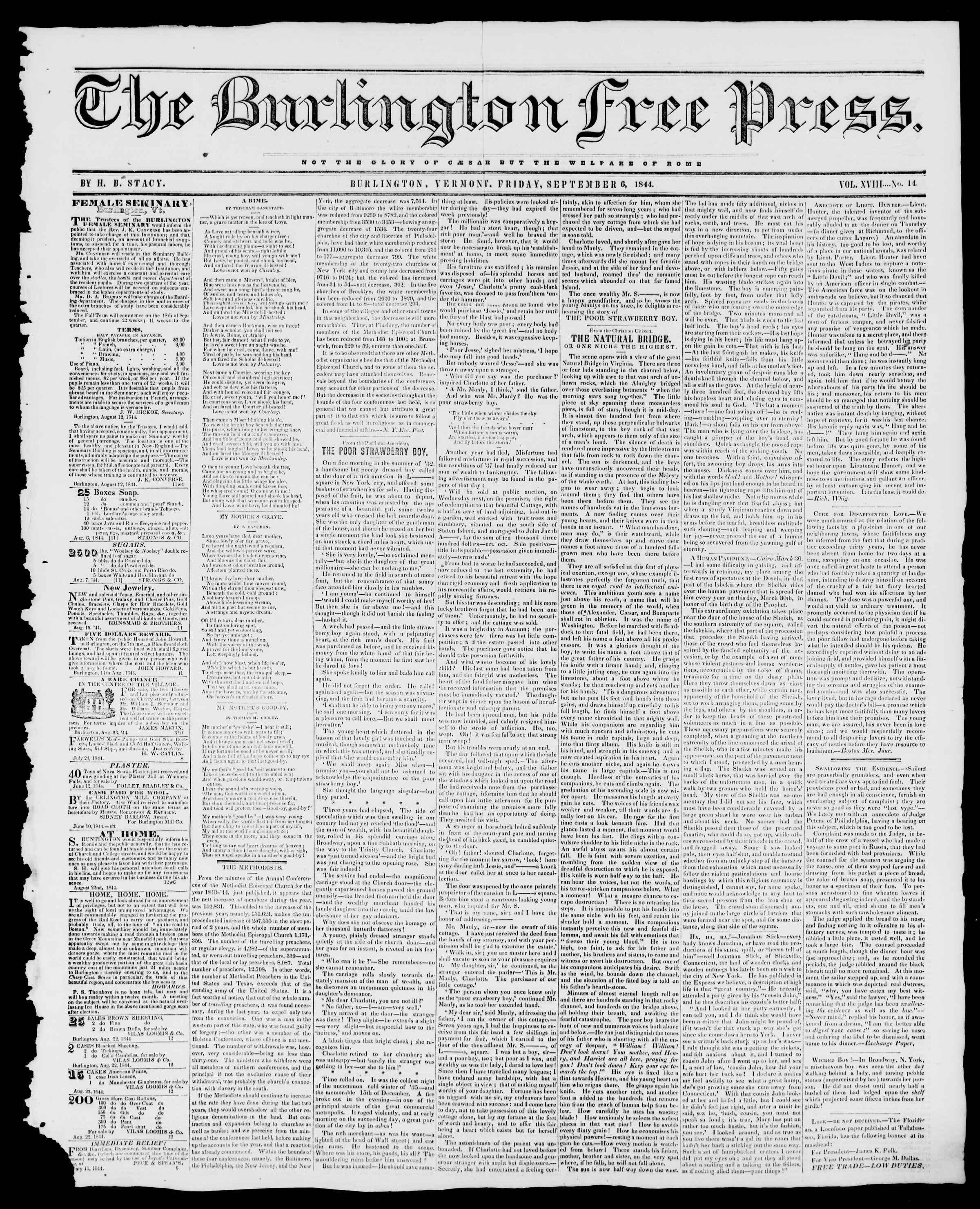 Newspaper of Burlington Free Press dated September 6, 1844 Page 1