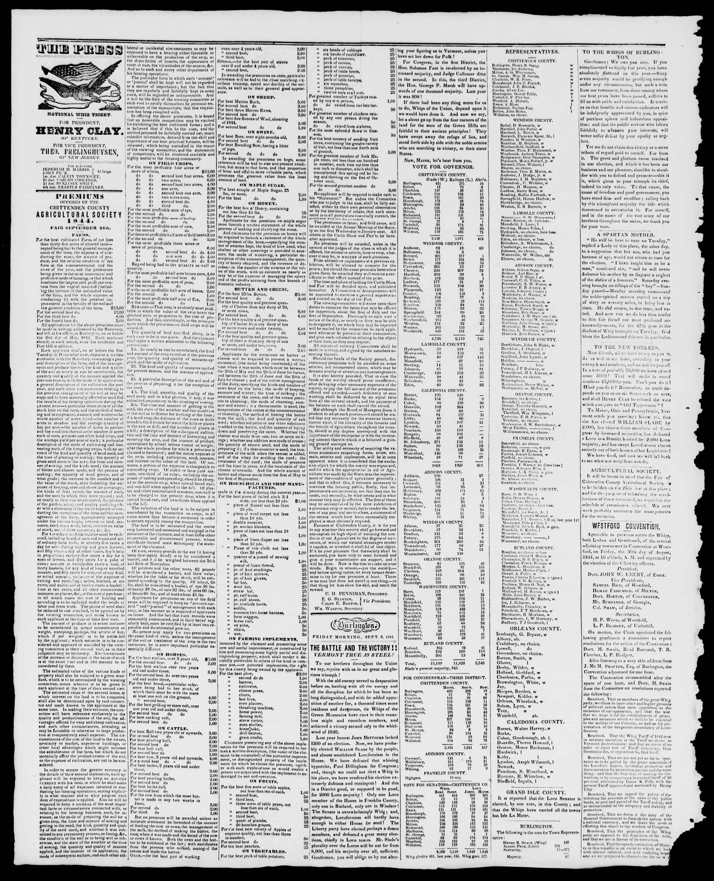 Newspaper of Burlington Free Press dated September 6, 1844 Page 2