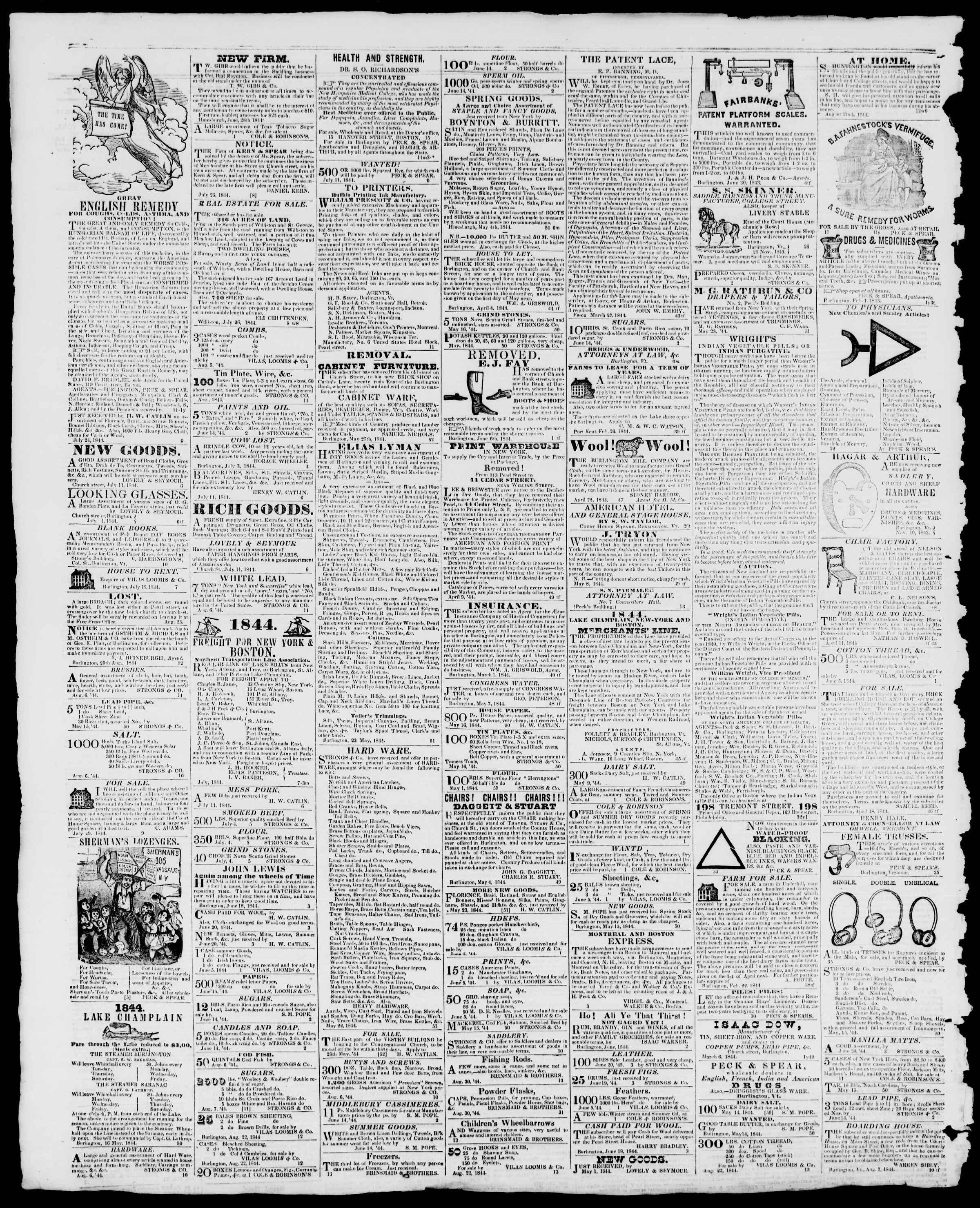 Newspaper of Burlington Free Press dated September 20, 1844 Page 4