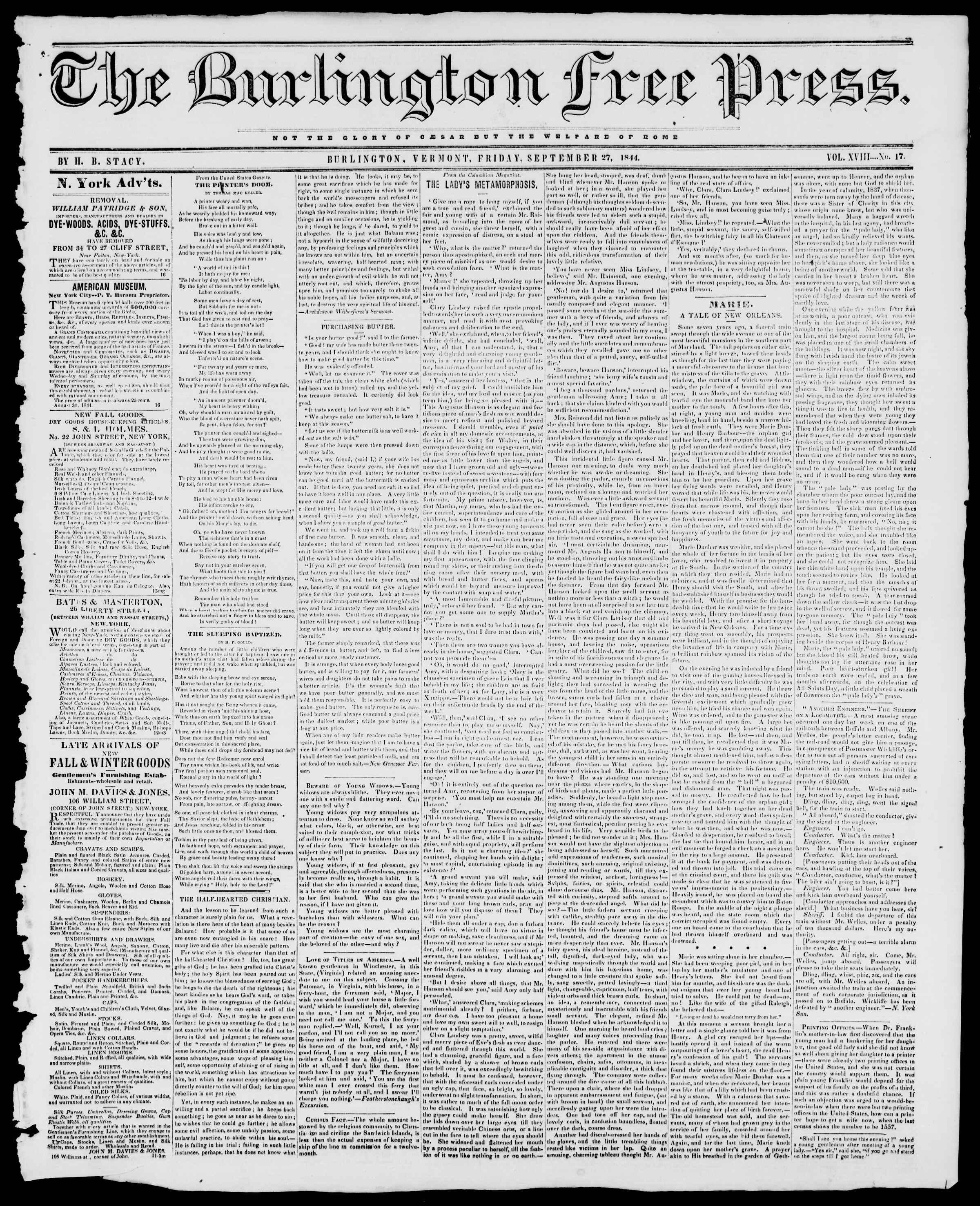 Newspaper of Burlington Free Press dated September 27, 1844 Page 1