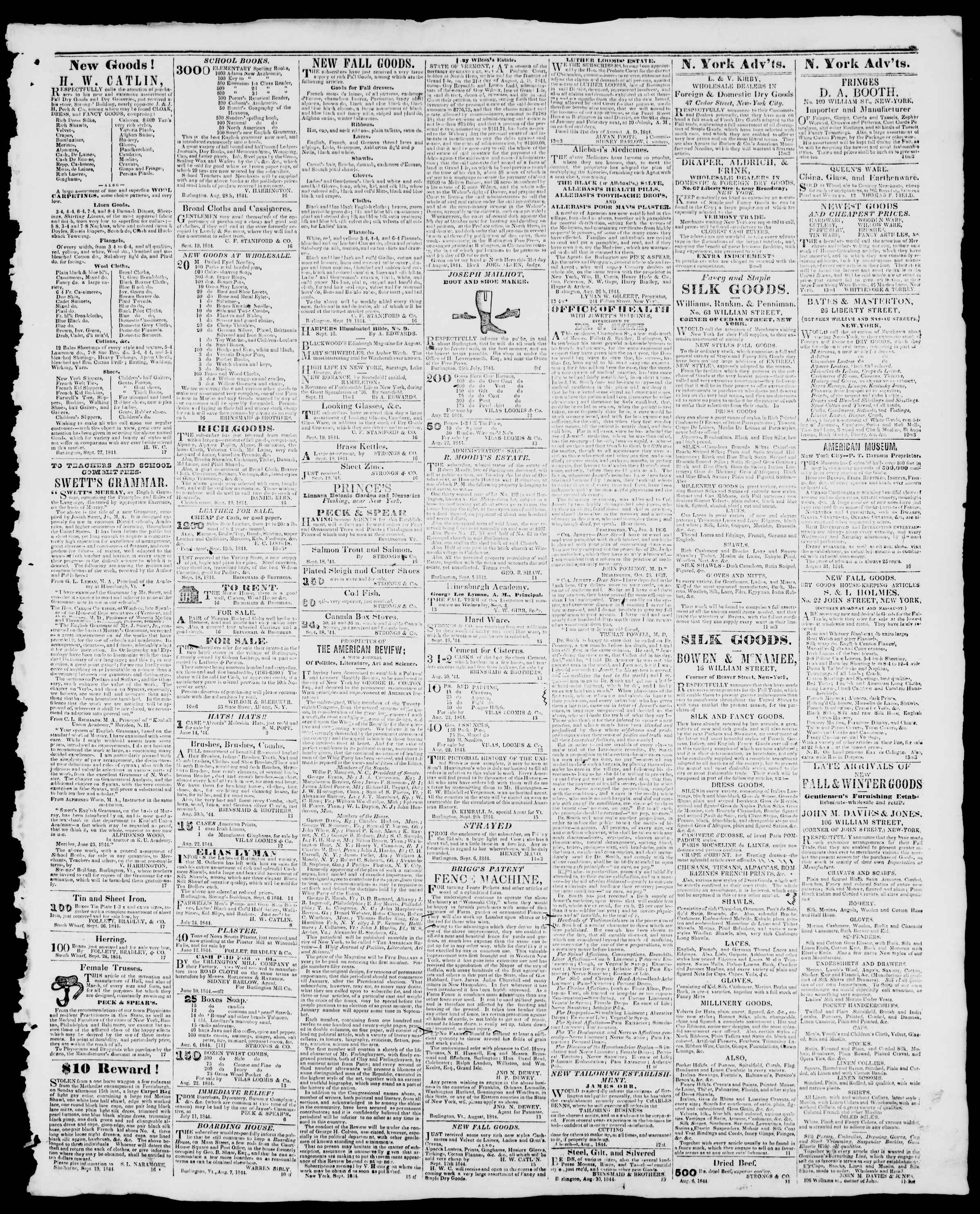 Newspaper of Burlington Free Press dated September 27, 1844 Page 3