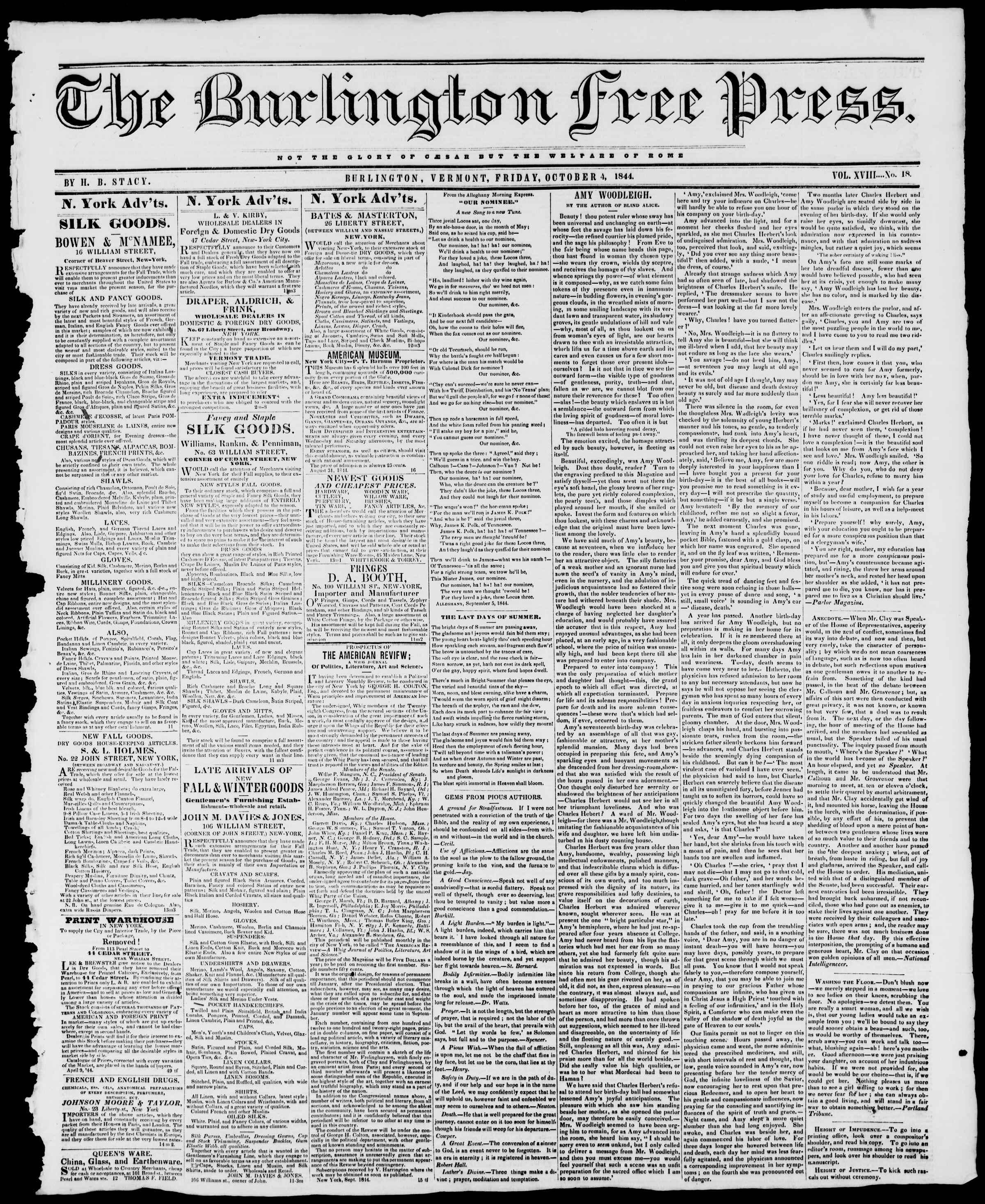 Newspaper of Burlington Free Press dated 4 Ekim 1844 Page 1