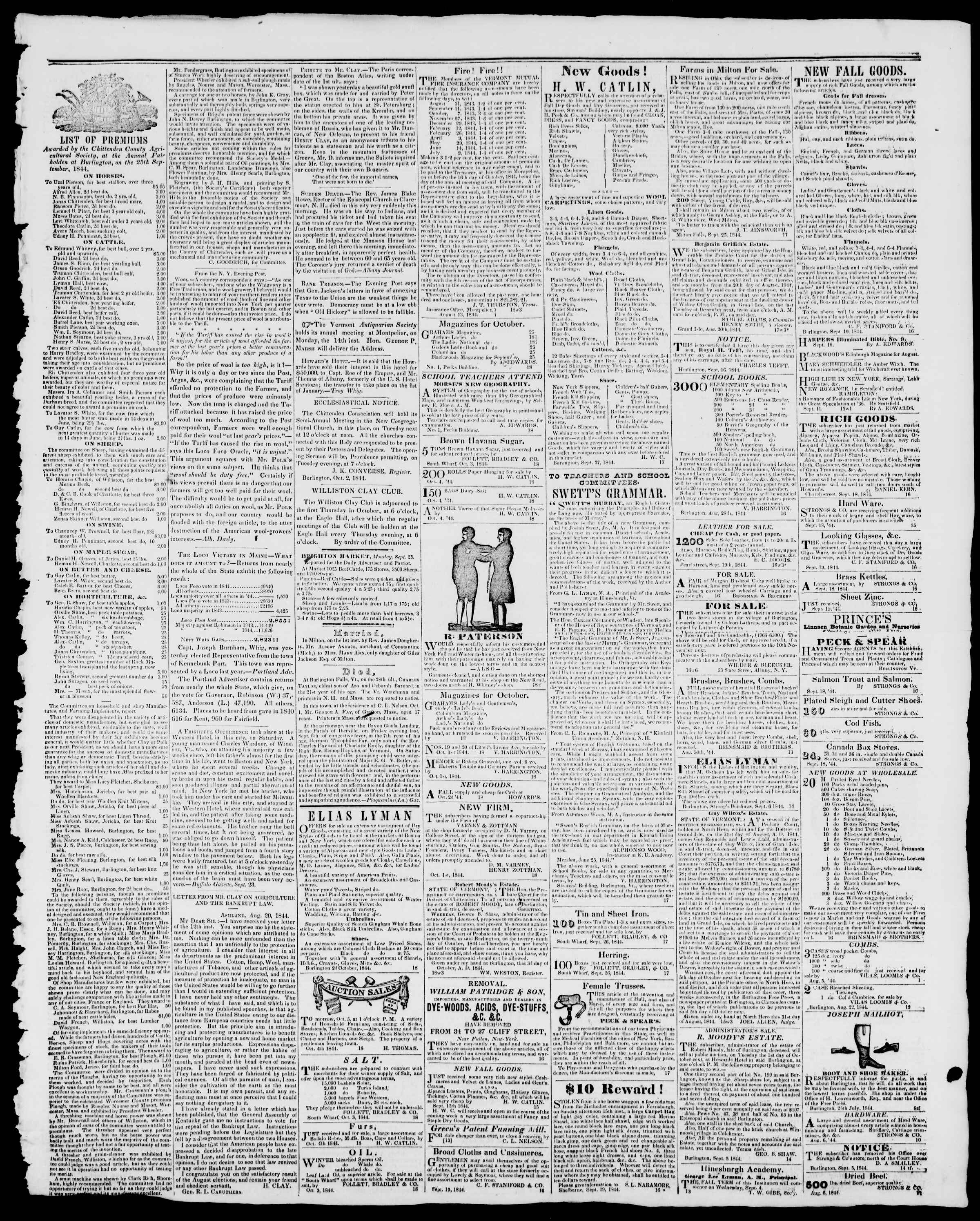 Newspaper of Burlington Free Press dated October 4, 1844 Page 3